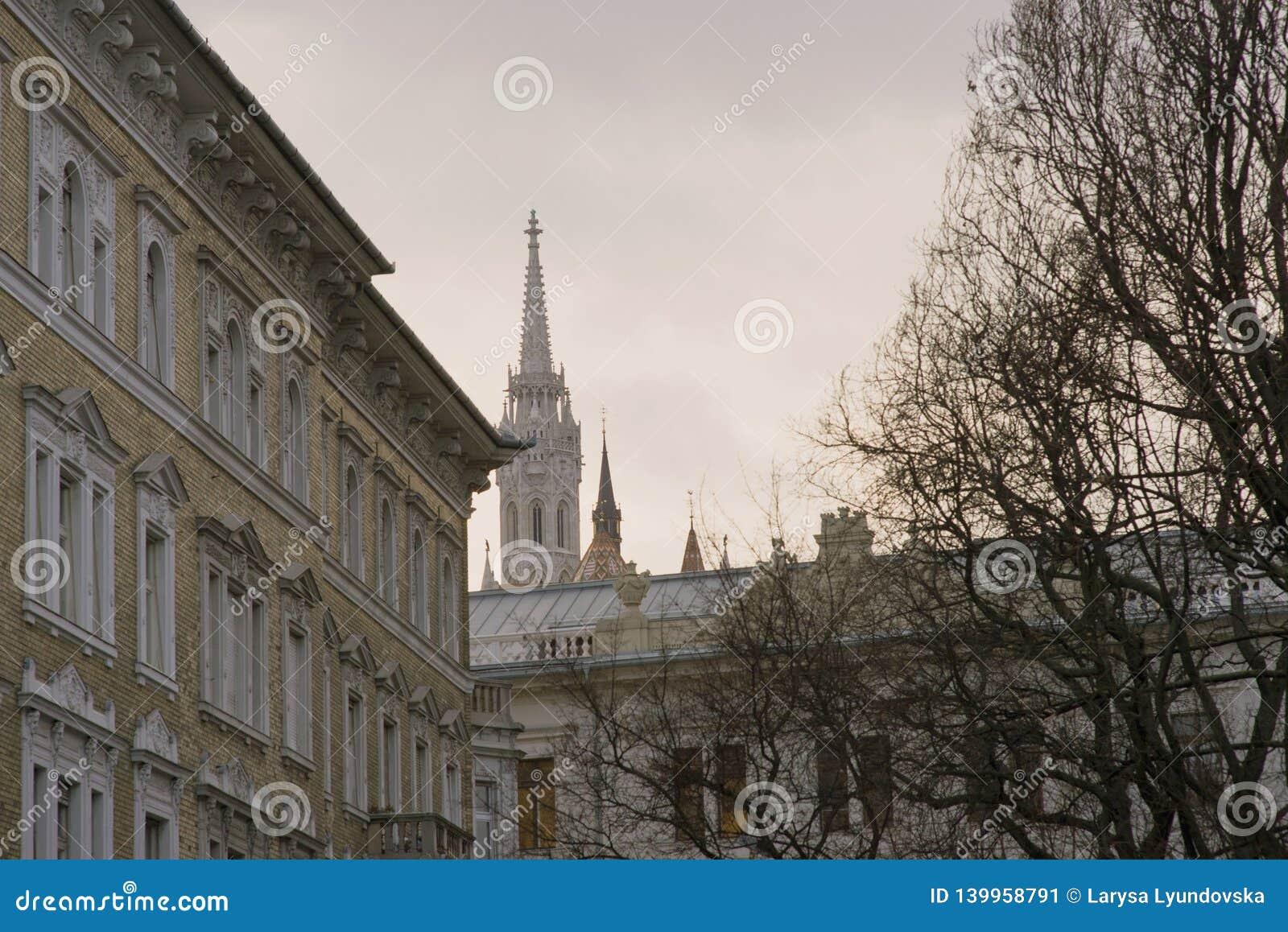 Необыкновенный взгляд шпиля католической церкви Matthias в Будапеште