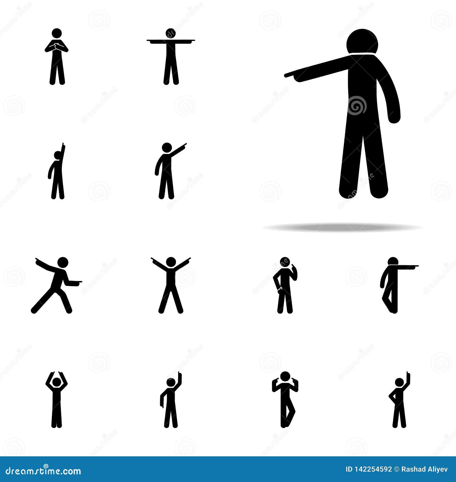 палец человека, вниз значок Человек указывая набор значков пальца всеобщий для сети и черни