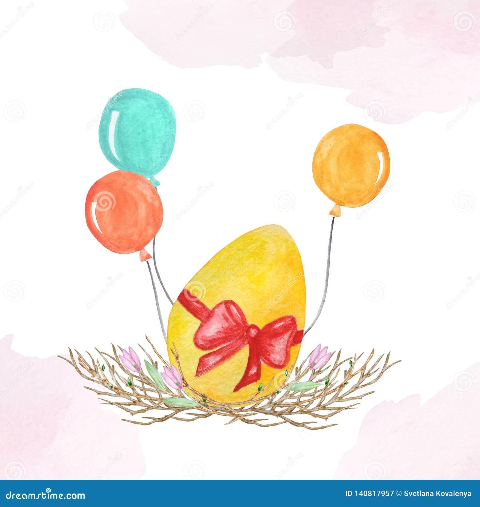 Пасхальное яйцо акварели с баллонами