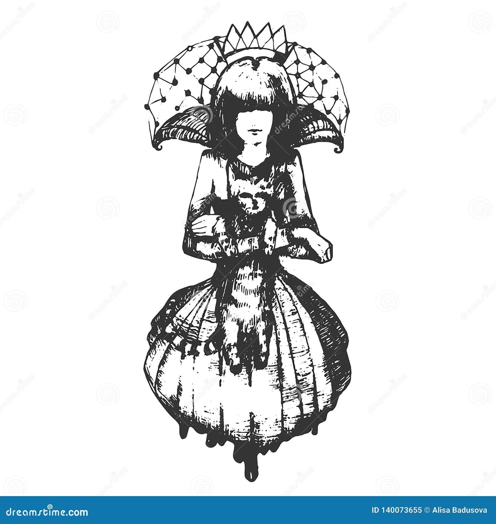 Печать эскиза руки вектора вычерченная девушки с иллюстрацией кота на белой предпосылке