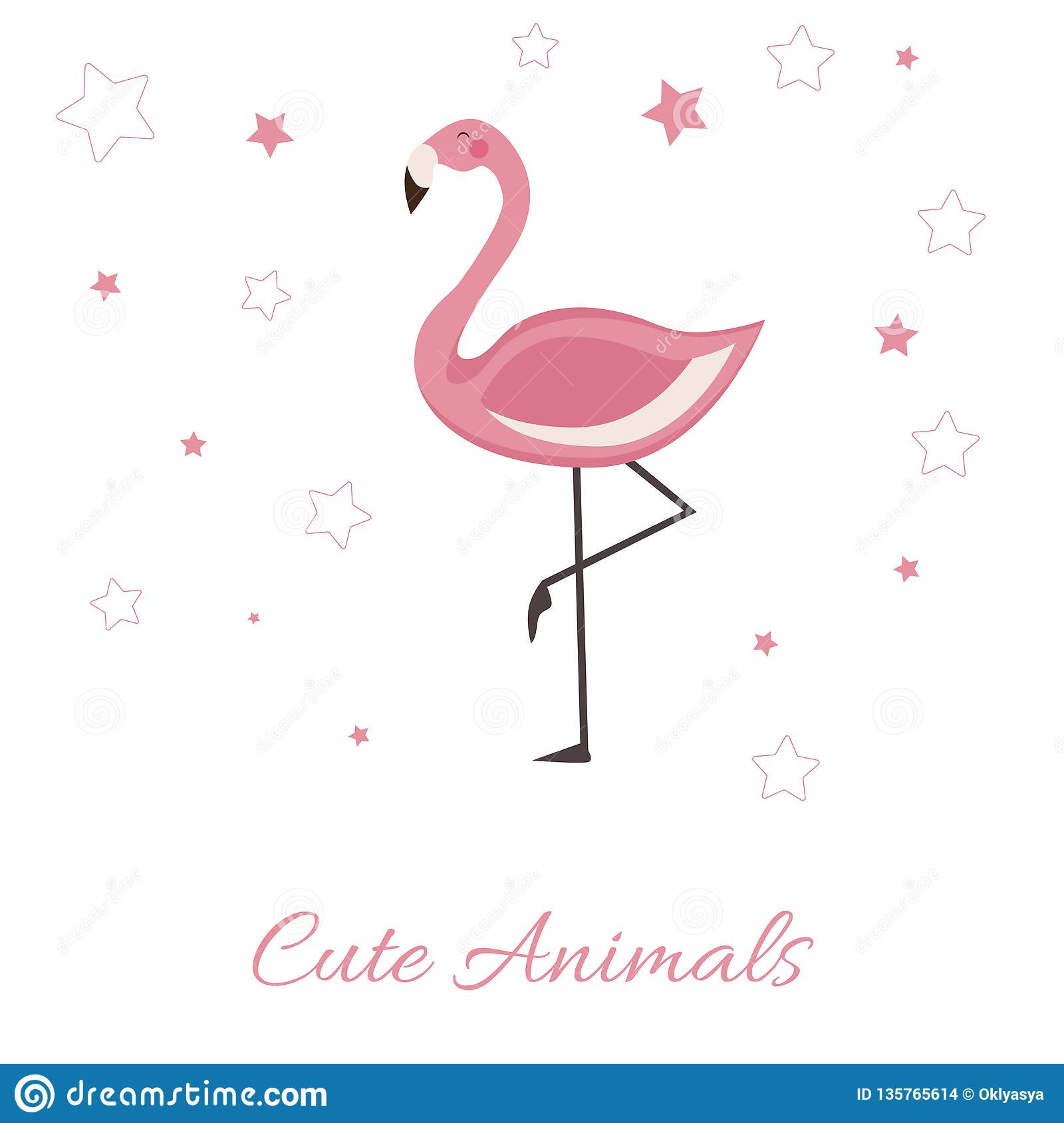 Cute Animals vector illustration with Pink Flamingo. lettering isolated illustration on white background