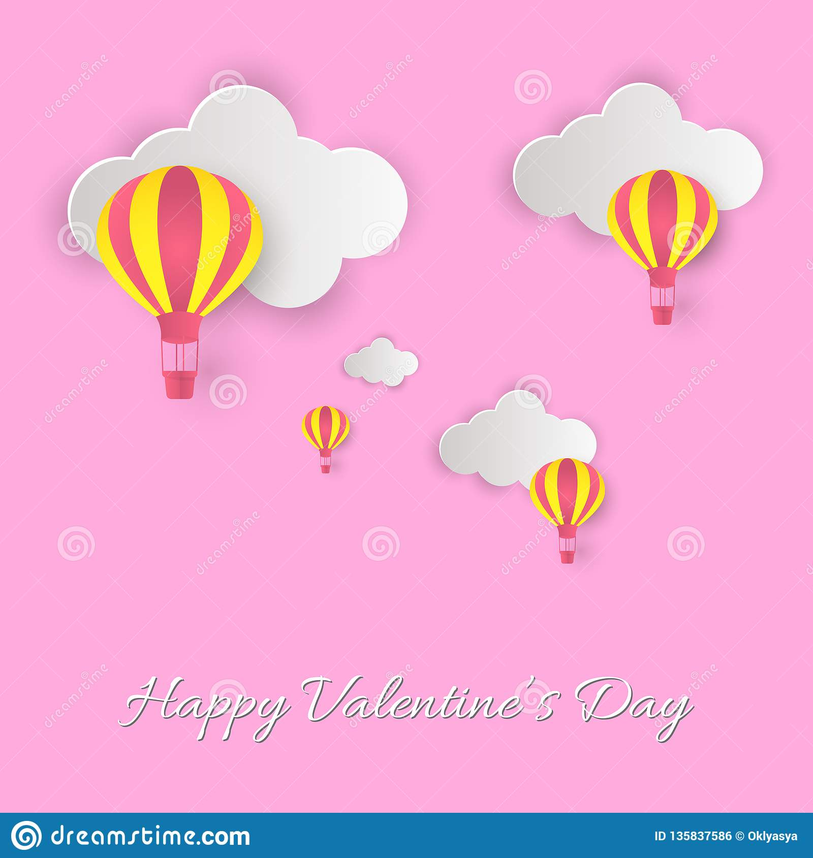Happy Valentine`s Day! Beautiful clouds and air balloons! Abstract paper art 3D vector illustration on pink background.