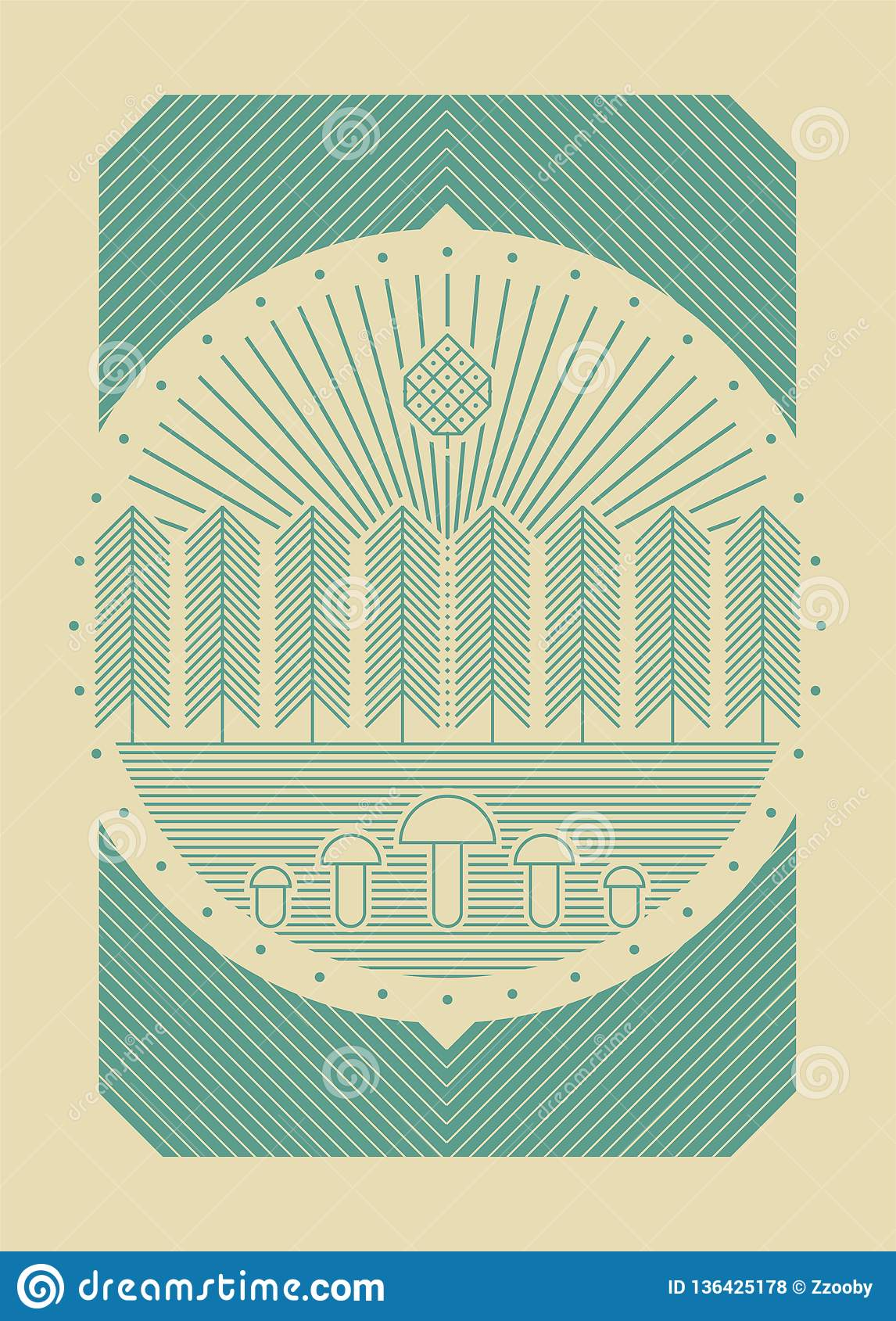 Forest tourism simple graphic linear geometric pattern background. Vector illustration.