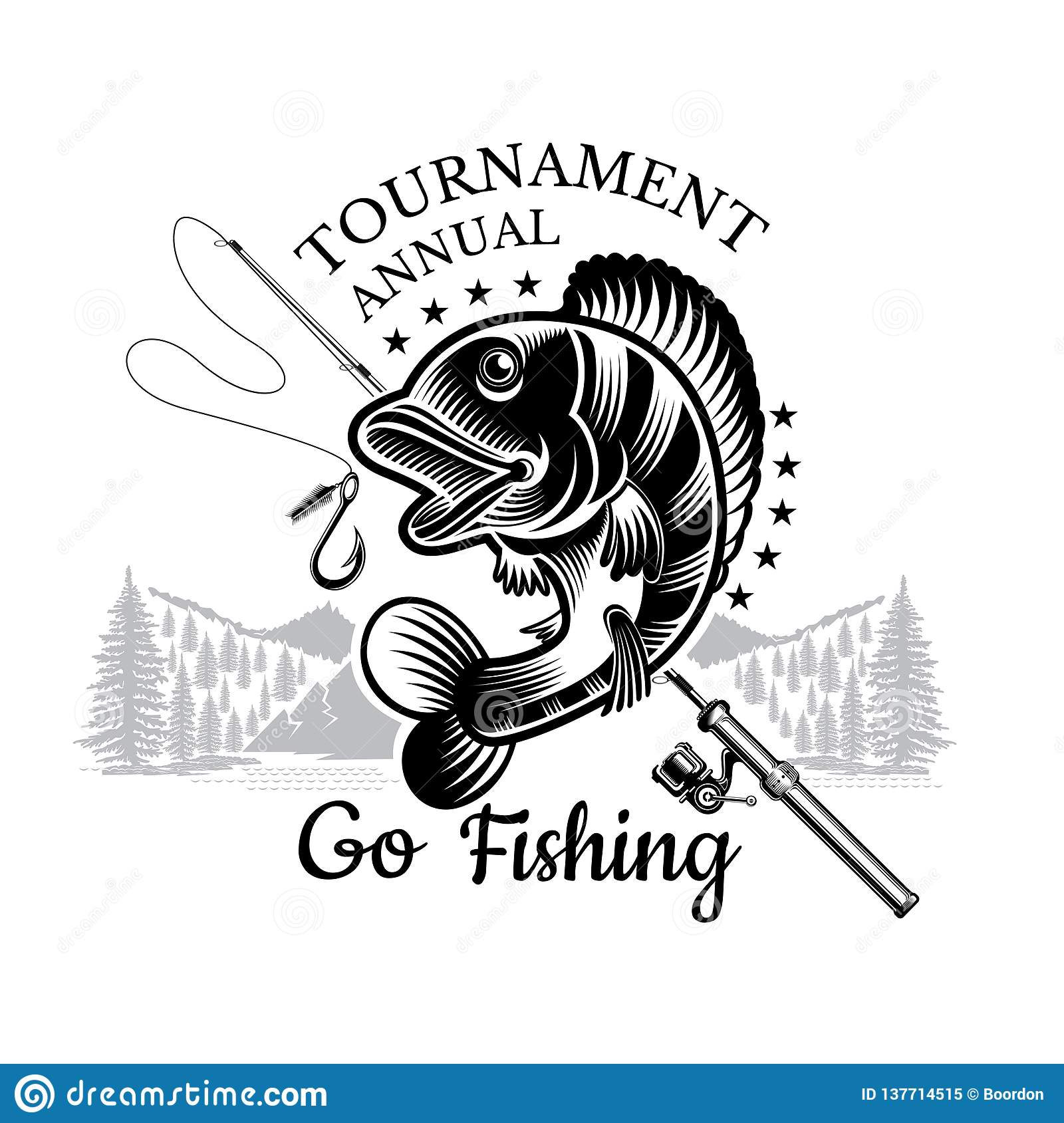 Perch fish bend with fishing rod and landscape backside in engrving style. Logo for fishing, championship and sport club