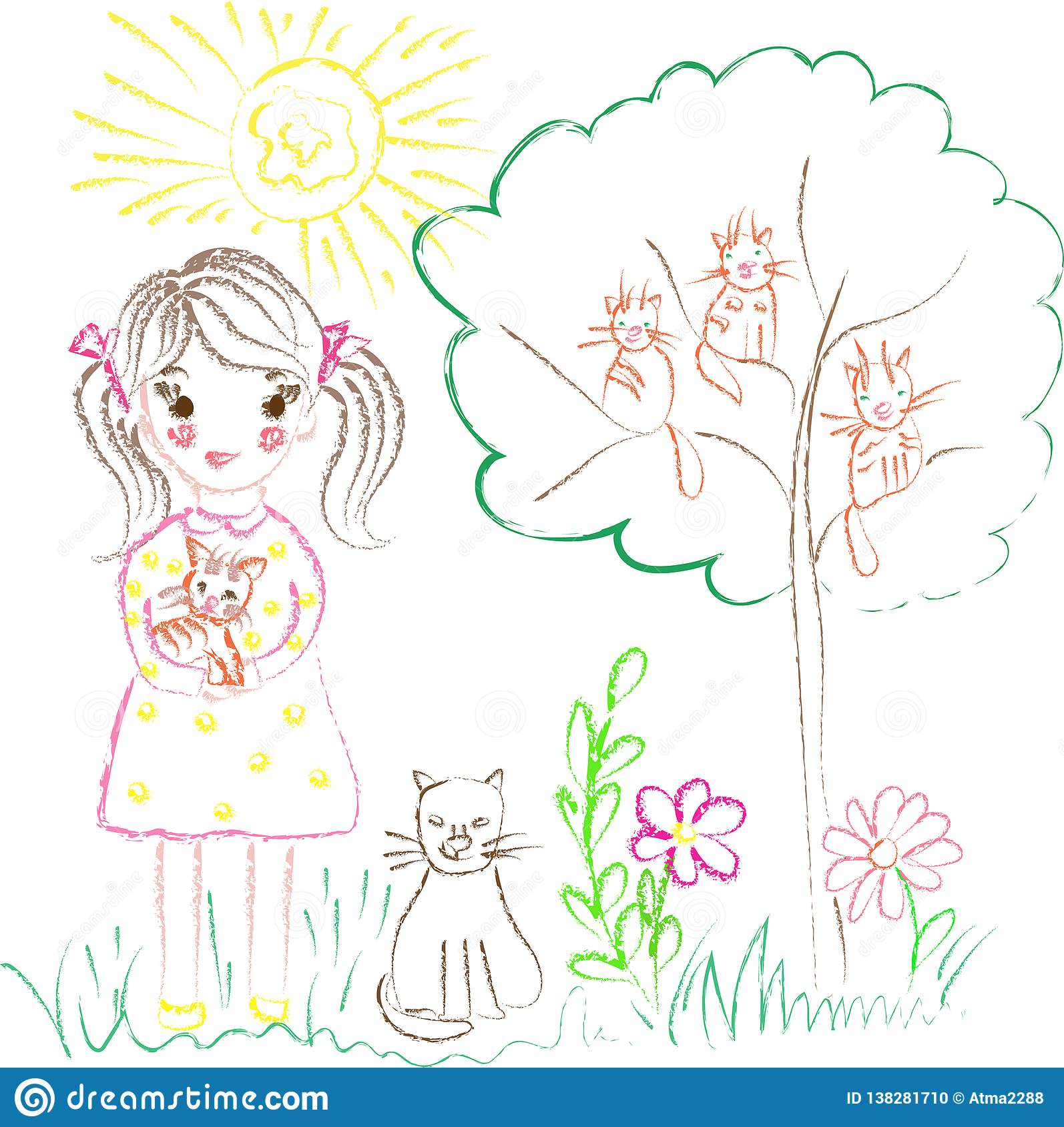 Illustration on the theme of children`s drawings girl with cats
