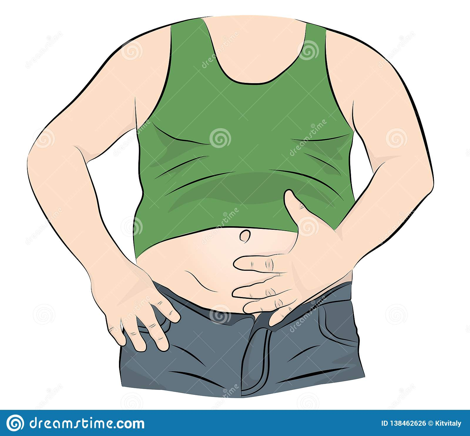 Fat man with a big belly. vector illustration.