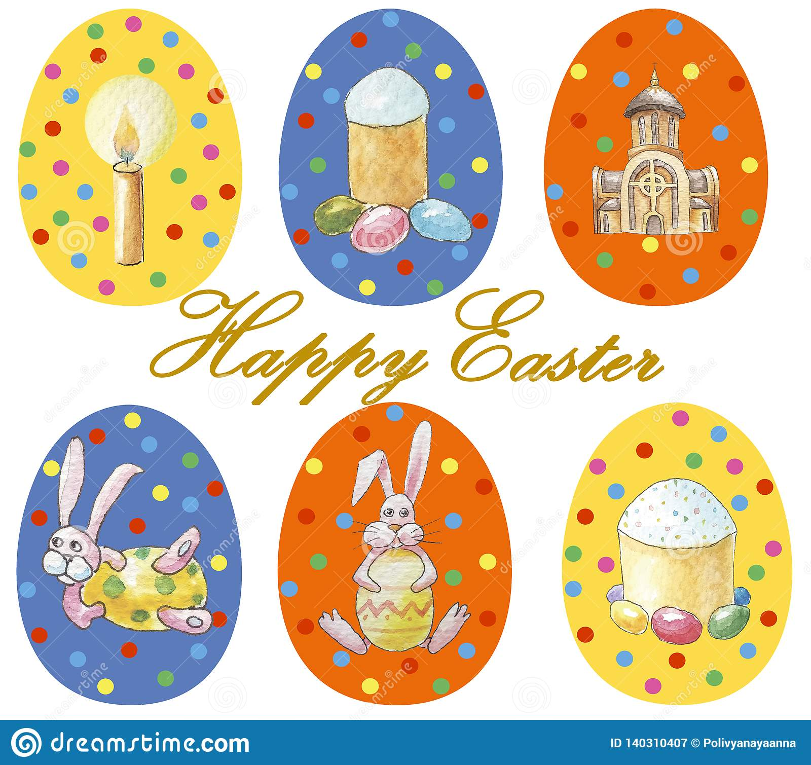 Card `Happy Easter` Set of multicolored easter eggs with different pattern and illustration in easter`s theme isolated on white