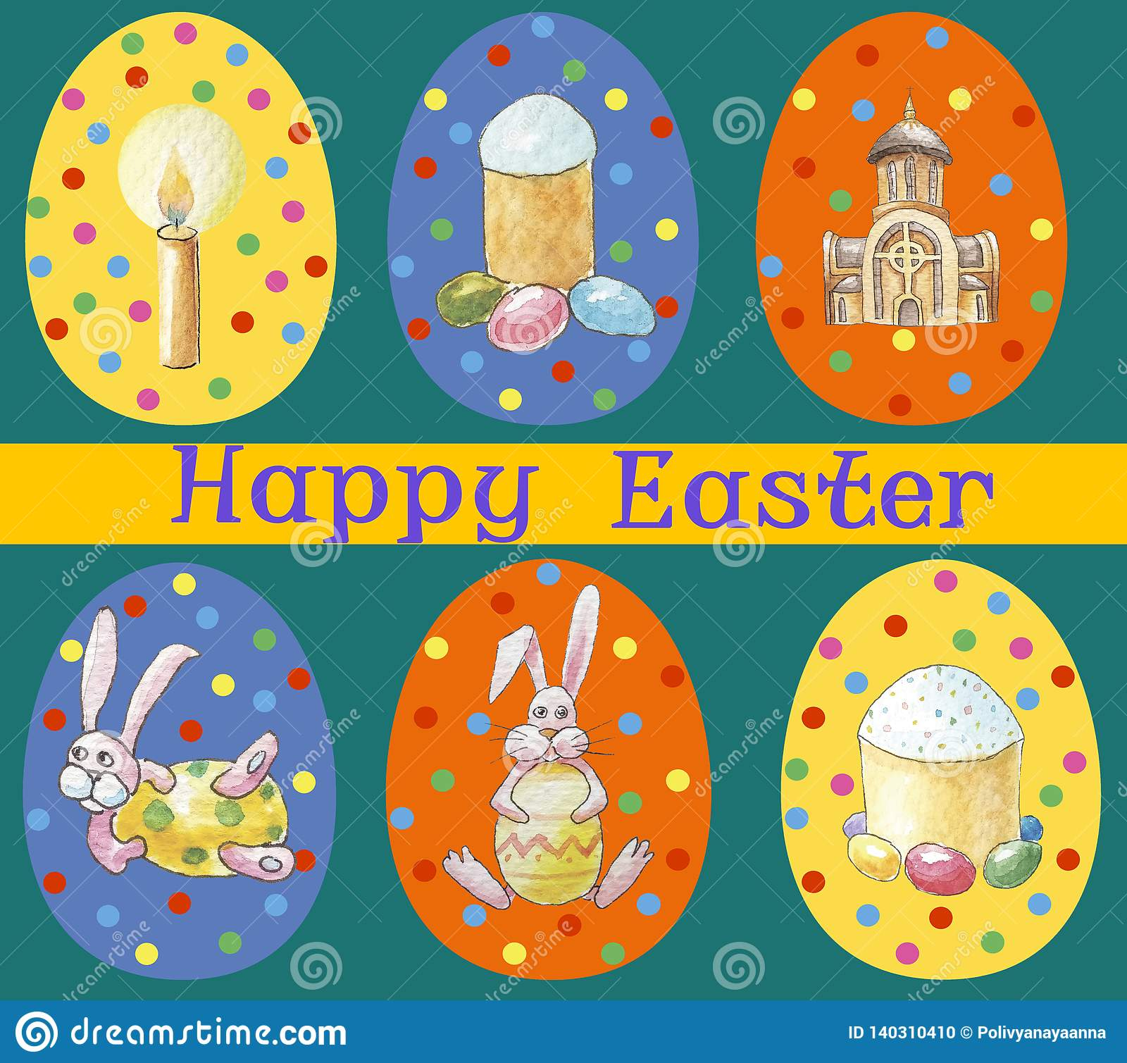 Card `Happy Easter` Set of multicolored easter eggs with different pattern and illustration in easter`s theme on green