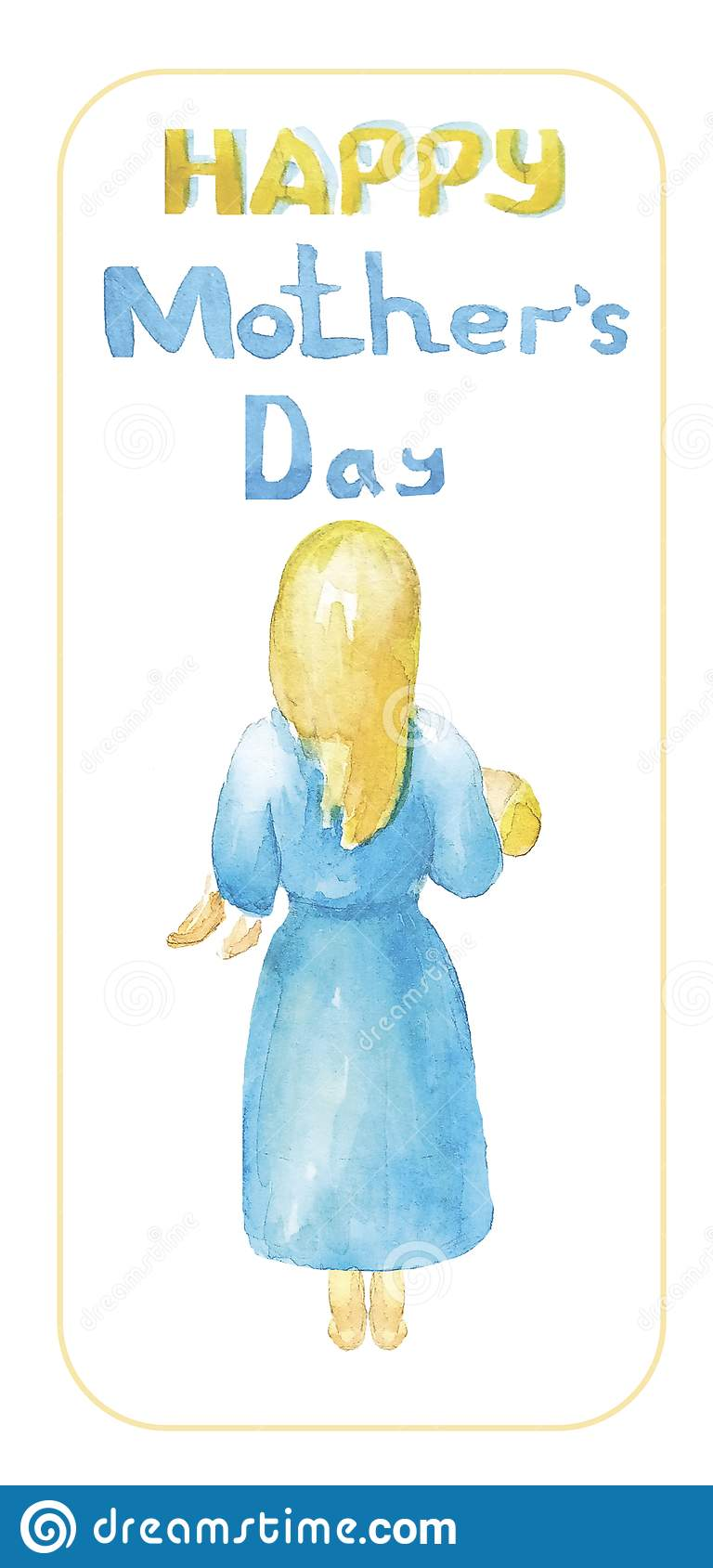 Happy mother`s day. Mother with blond hair in a blue dress, barefoot, holds, hugs her child,