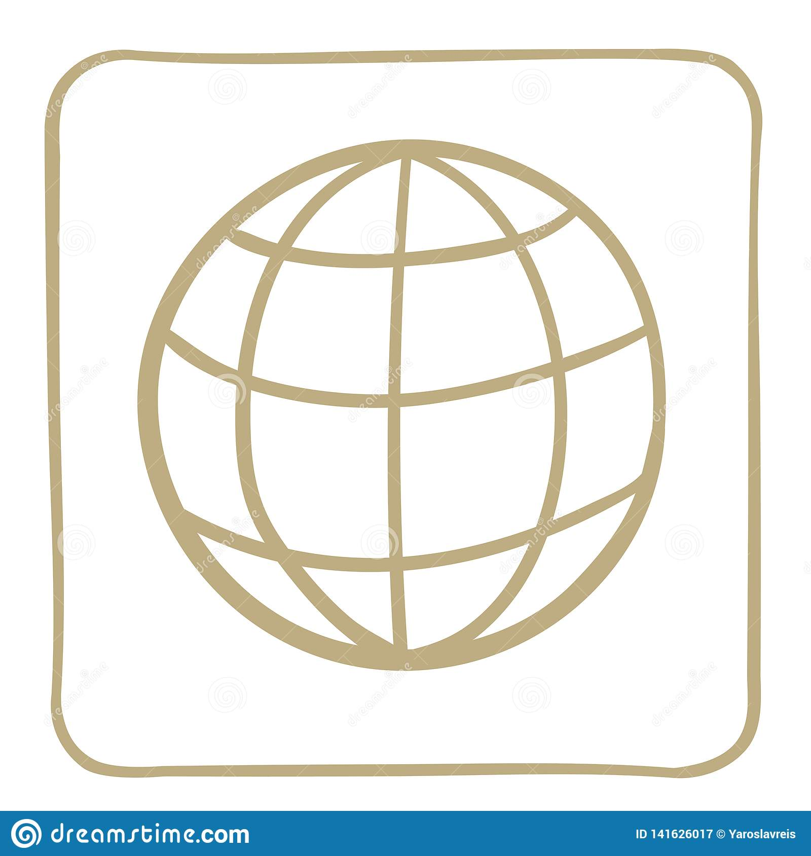 globe icon in light brown frame. Vector graphics.