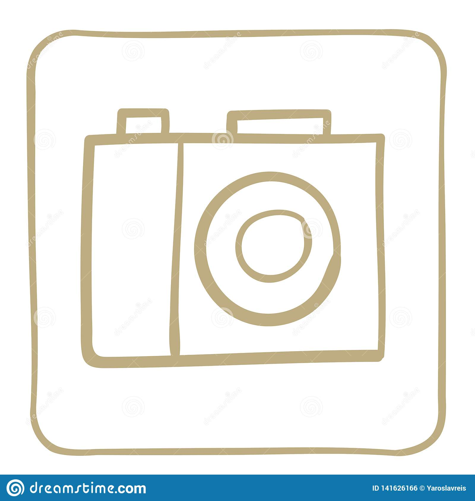 Camera - icon in a light brown frame. Vector graphics.