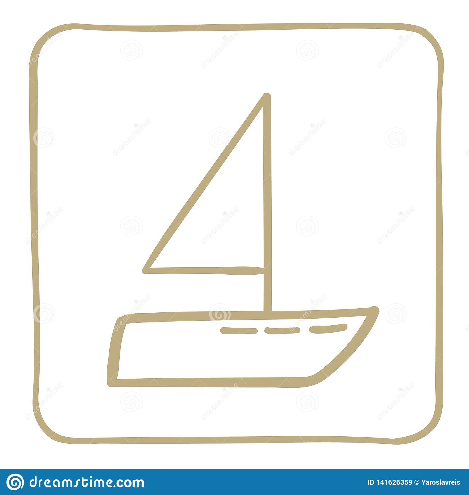 Sailboat - icon in a light brown frame. Vector graphics.
