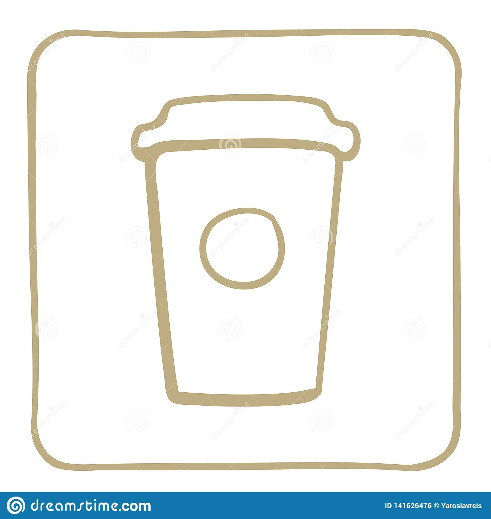 Coffee in a cardboard cup. Icon in a light brown frame. Vector graphics.