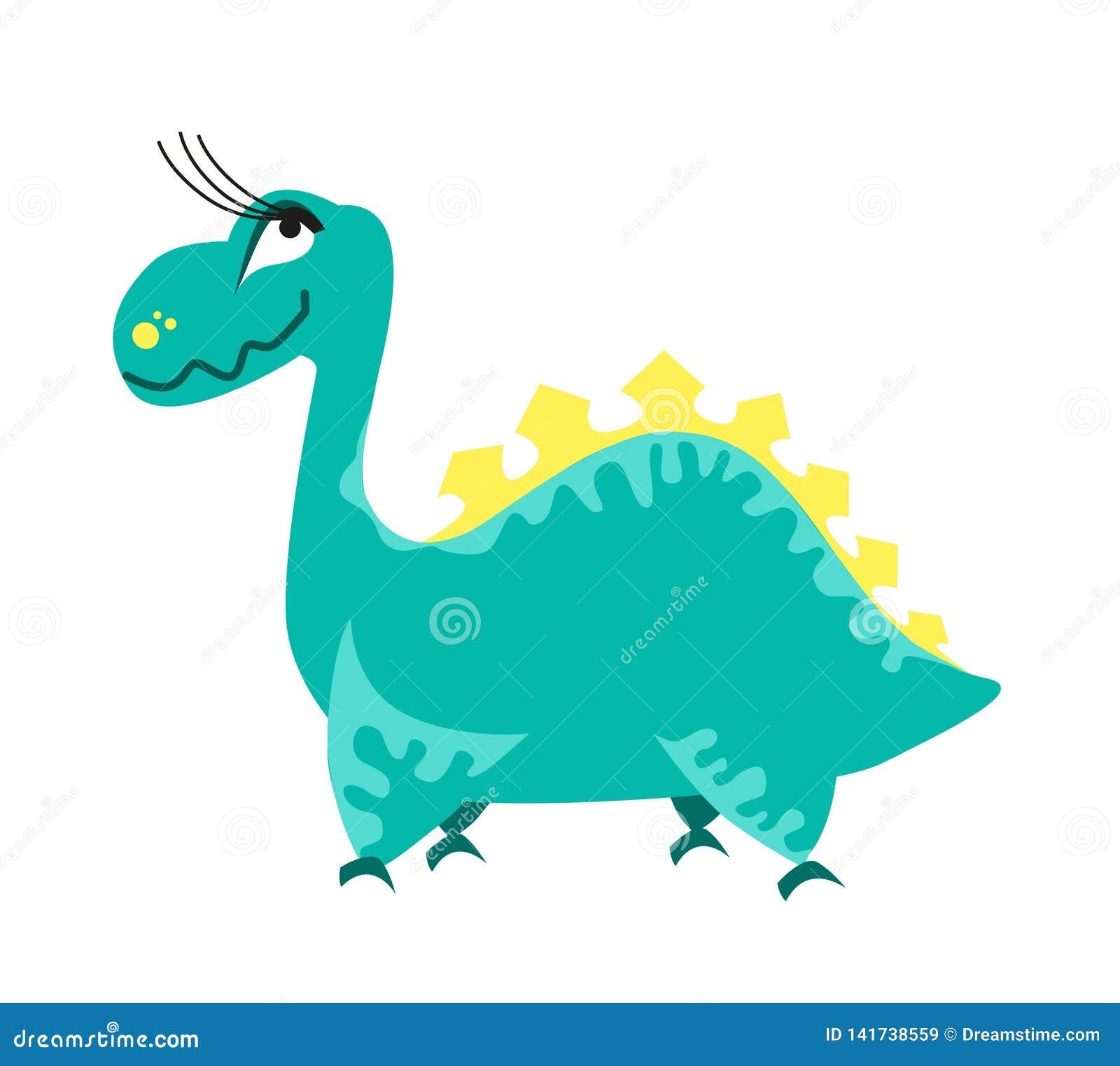 Cute green dinosaur. Cartoon dino. Vector illustration.