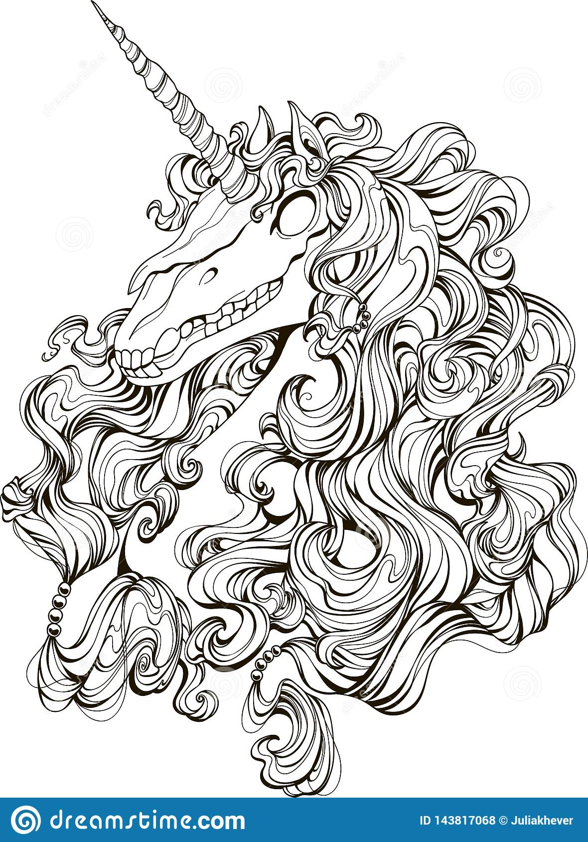 Drawing Unicorn Skull In Zentangle Style For Adult ...