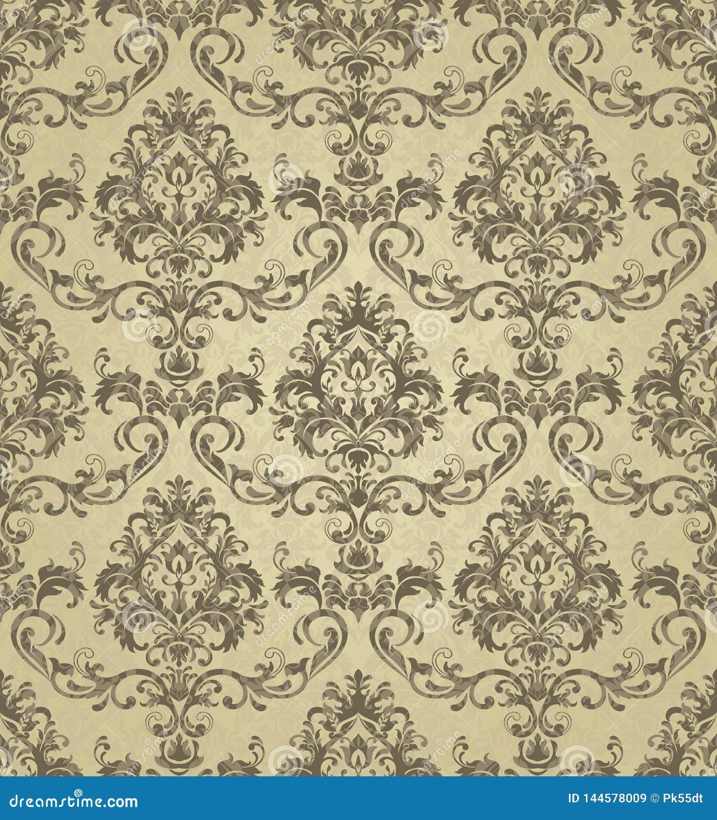 Seamless Gold Damask Design For Decor Textile Fabric