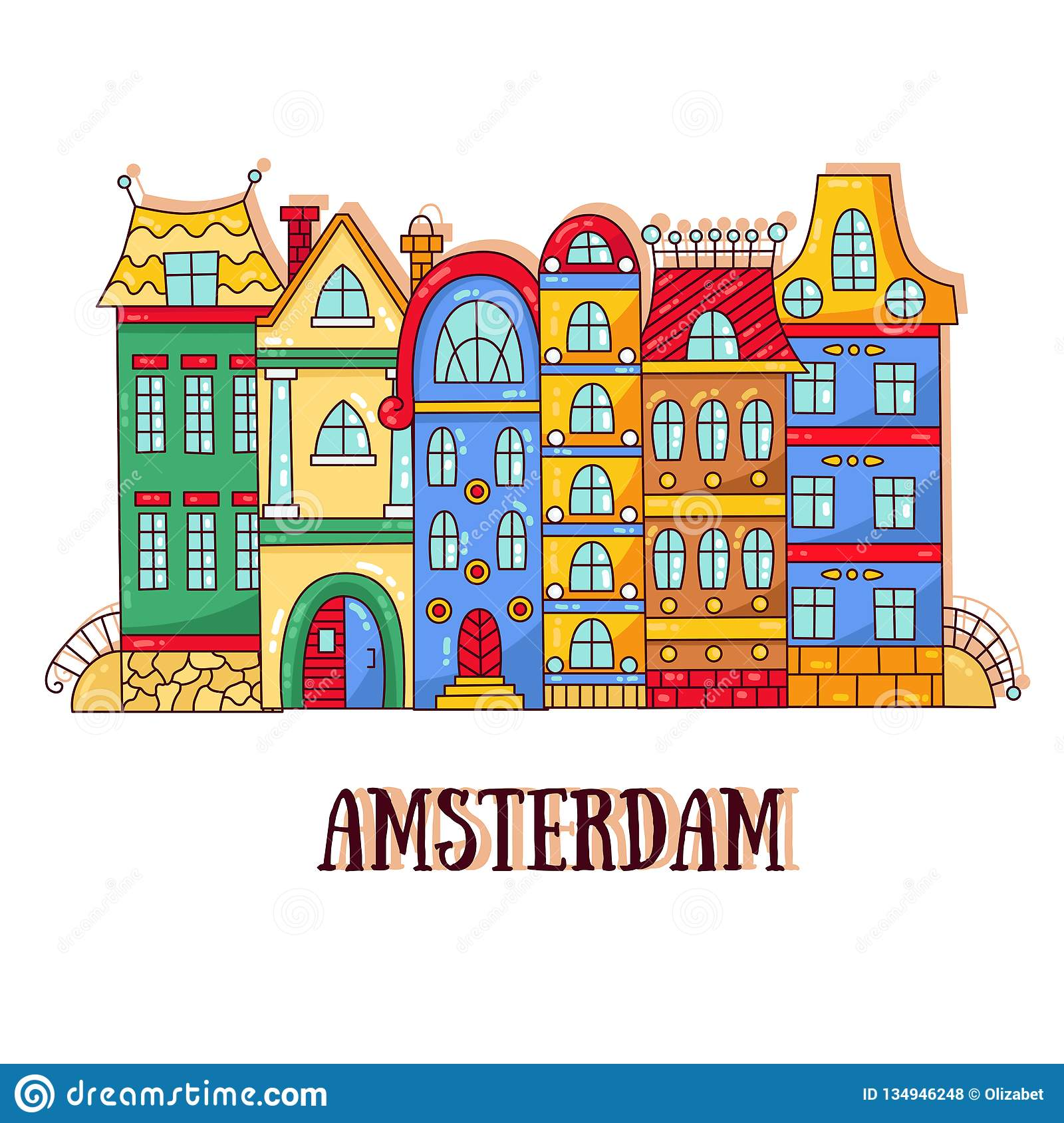 Amsterdam old city street houses vector illustration