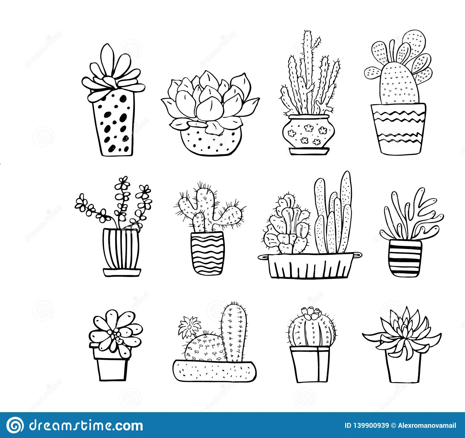 Cactus And Succulent Plants In Flowerpots Vector Hand Drawn Outline Black And White Sketch Illustration Stock Vector Illustration Of Flora Flower 139900939