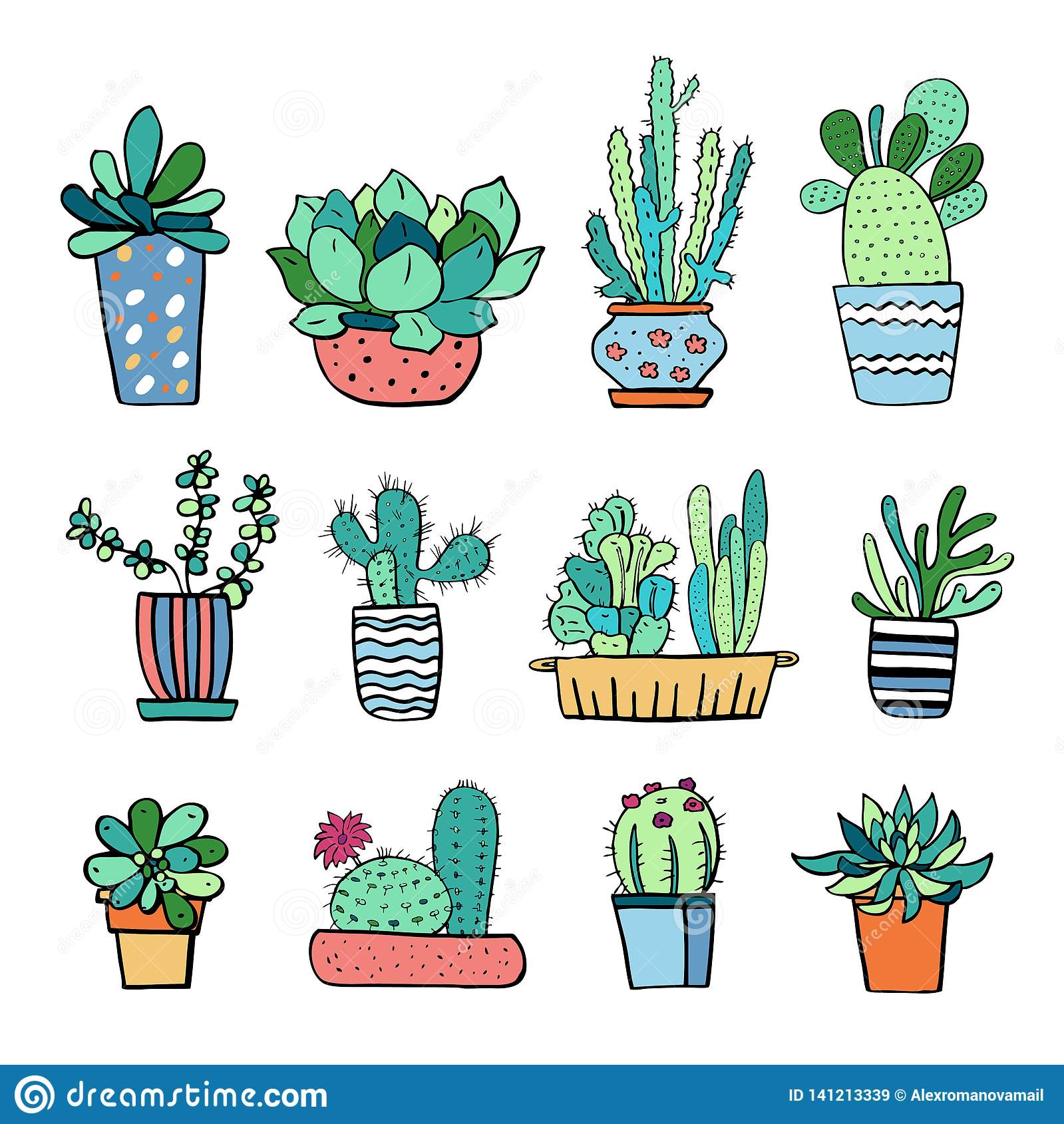 Cactus And Succulent Plants In Flowerpots Vector Hand Drawn Outline Color Sketch Illustration Stock Vector Illustration Of Cartoon Doodle 141213339