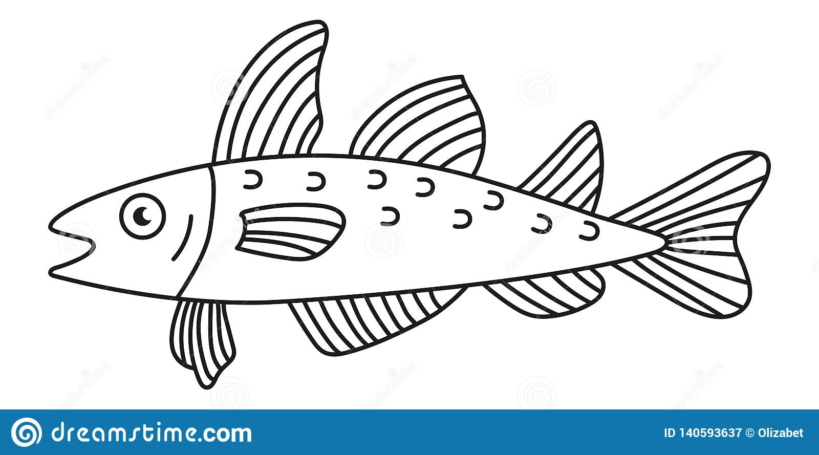 Cod fish vector icon