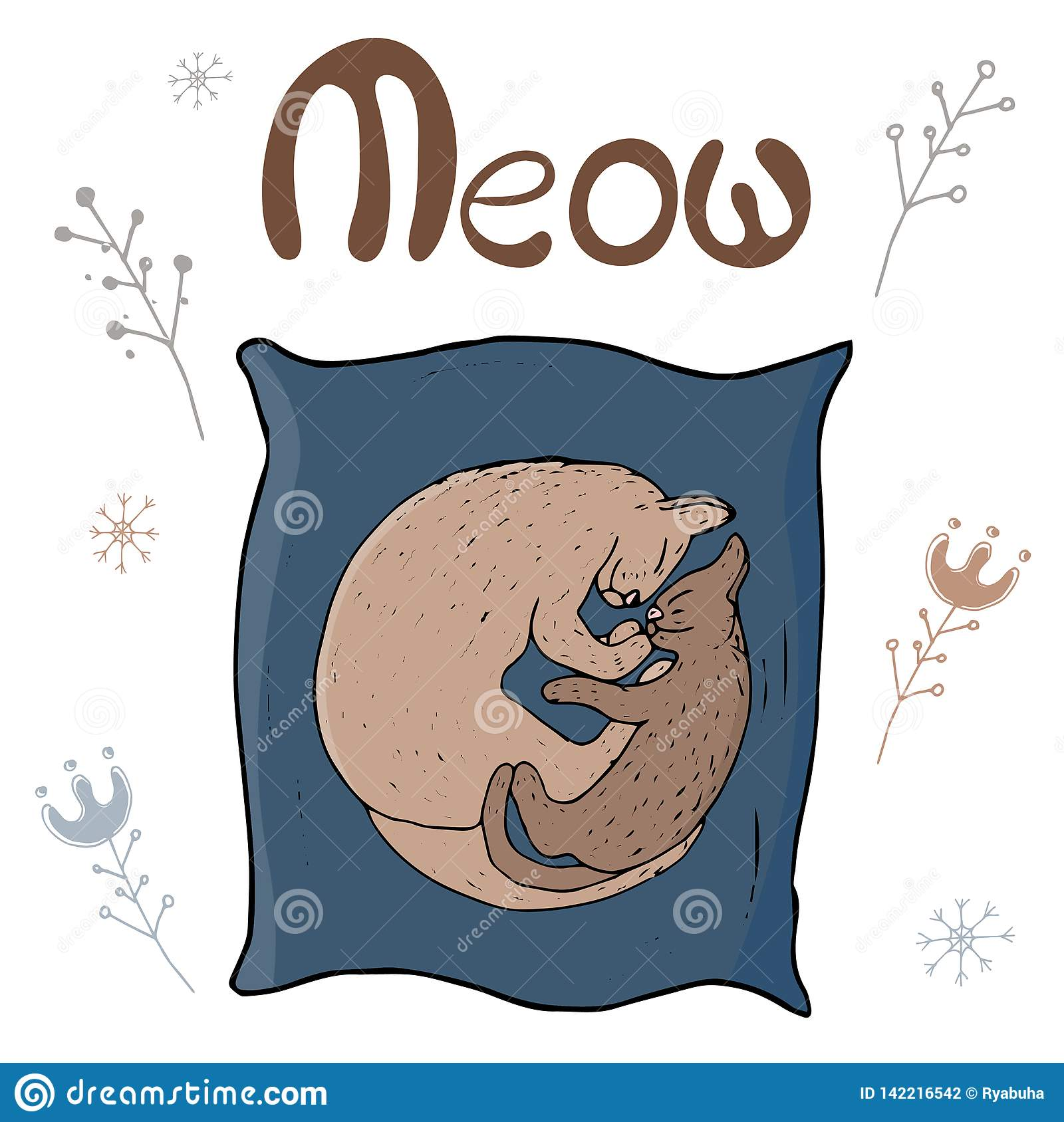 Cosy vector illustration - Cat and kitten