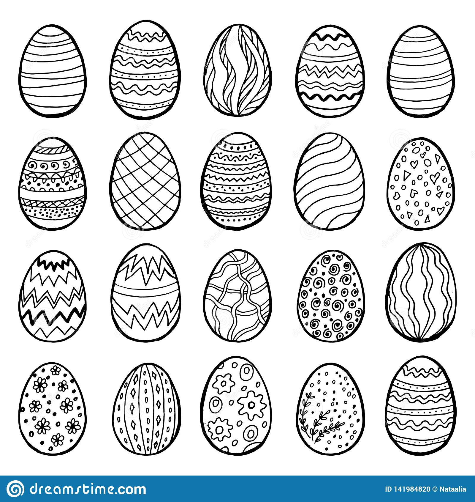 Happy Easter eggs collection, hand drawn set, vector. 20 different designs.