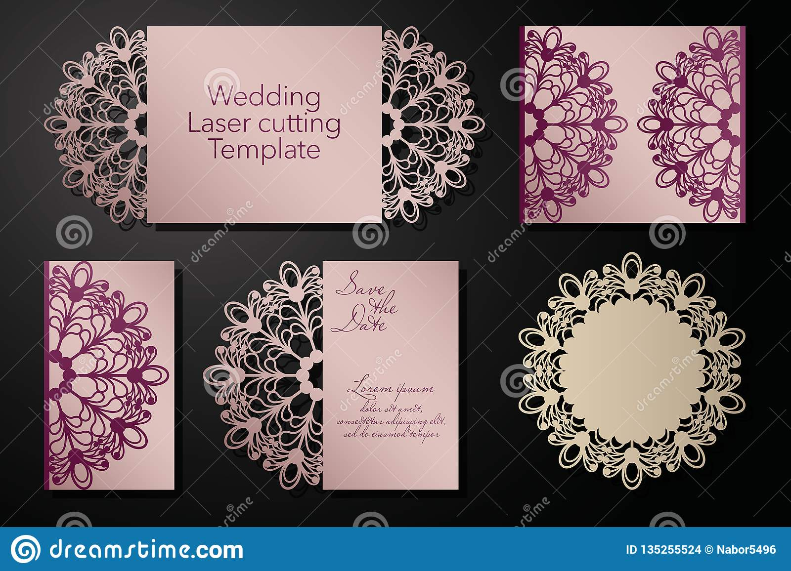 Laser cutting of a wedding envelope, greeting card, invitation. Radial ornament. Vector.