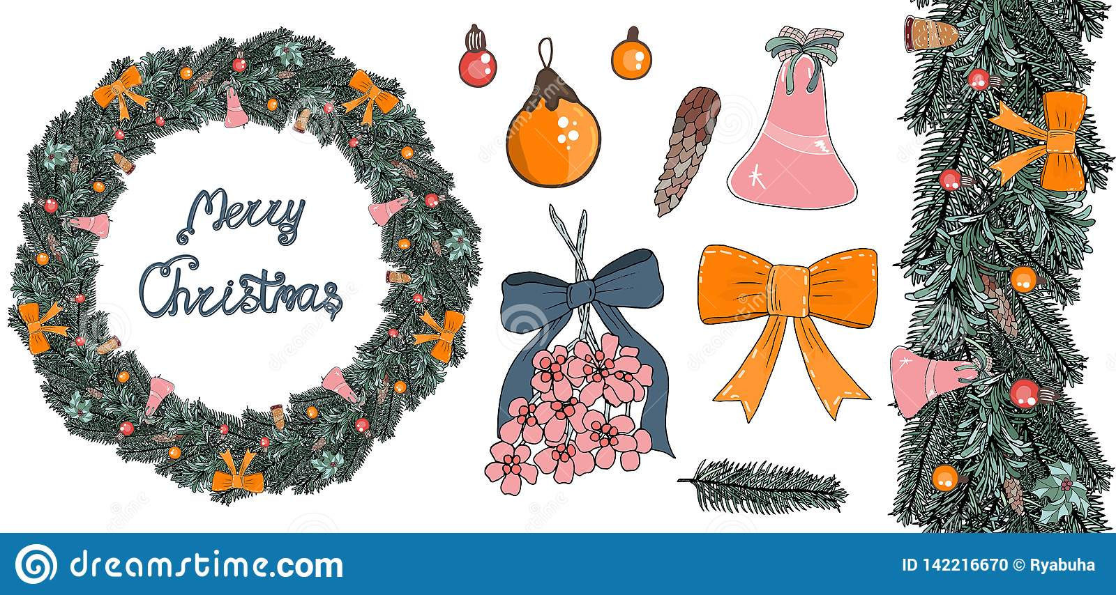 A wreath of fir branches with balls, bows and bells