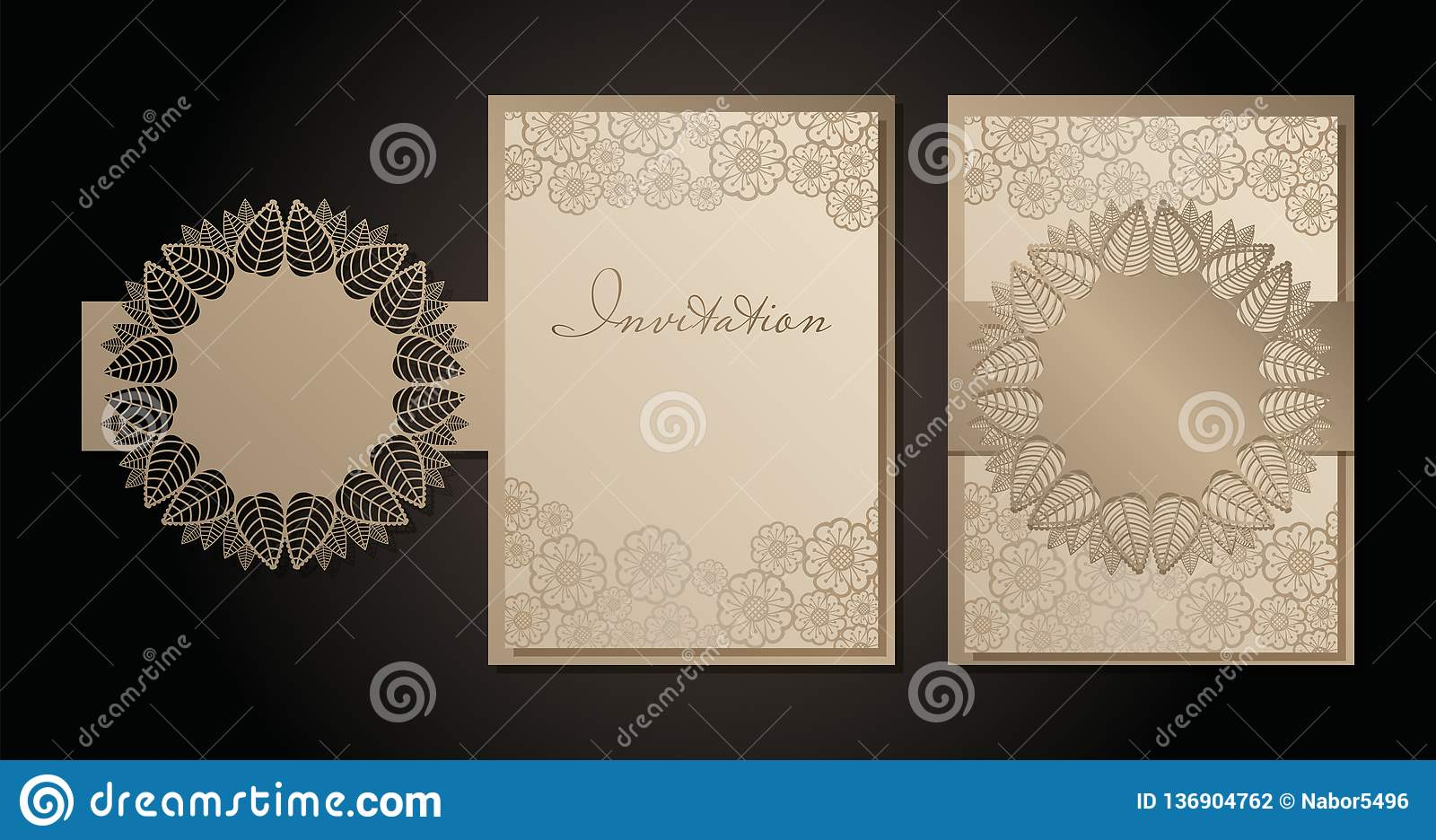 Vintage envelope and invitation for laser cutting. Openwork cover and card design for wedding, Valentine`s Day, romantic