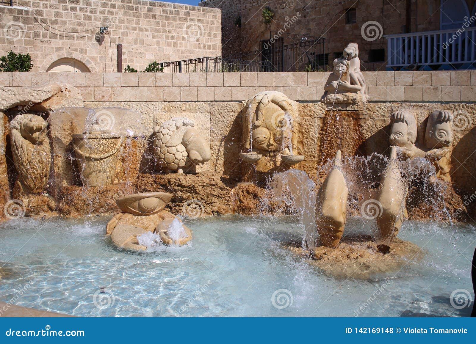 Переулки зодиака, знаки фонтана астрологические, город Яффы старый, Тель-Авив