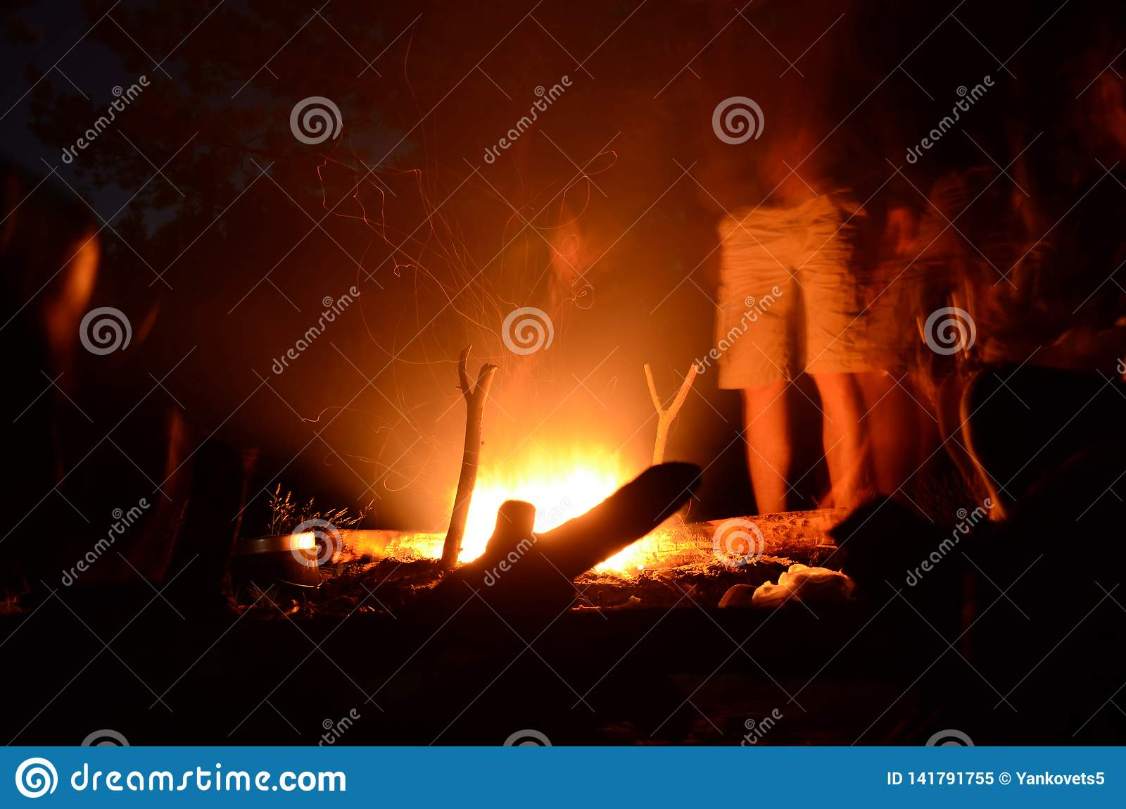 Пикник в людях леса ночи стоит вокруг огня