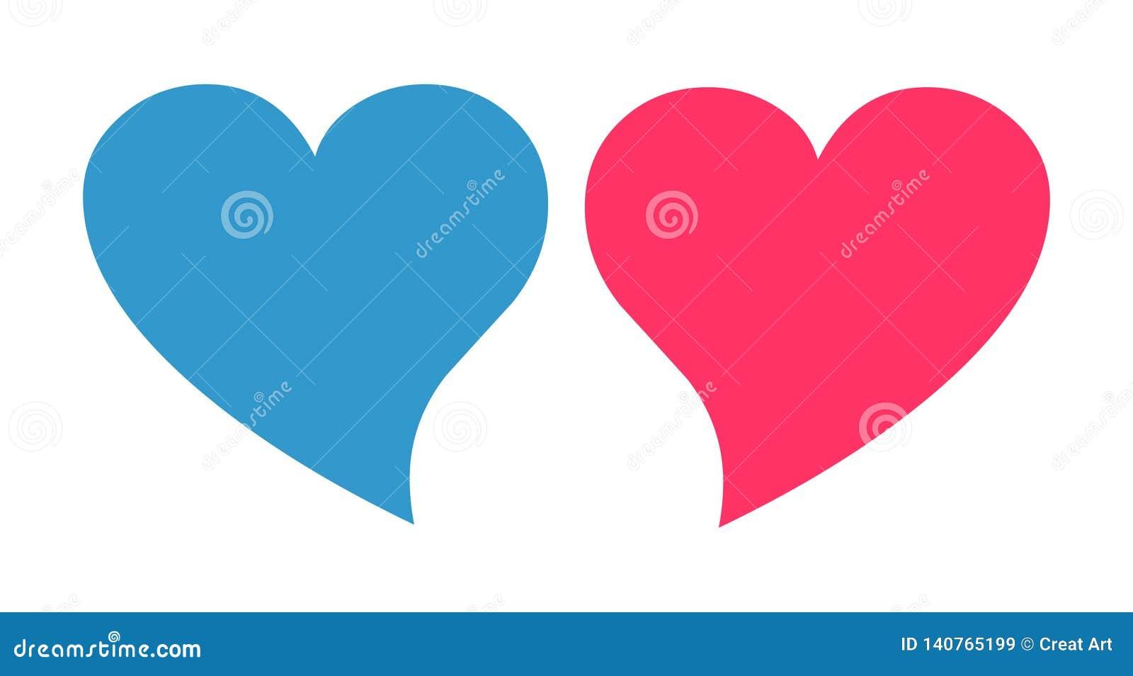Пинк и голубой вектор сердца Значок сердца рода