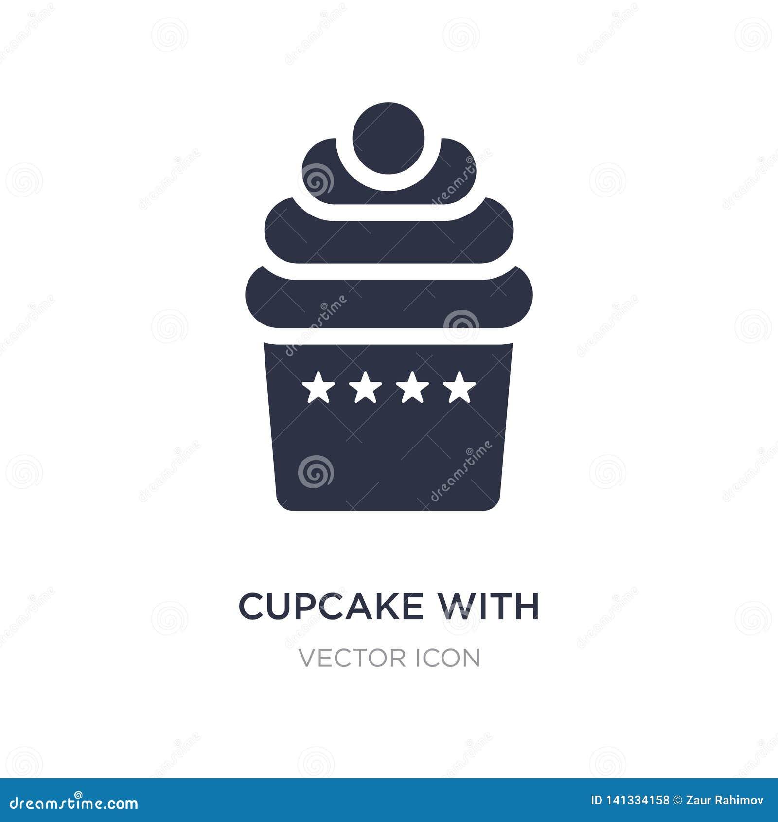 пирожное с большим значком вишни на белой предпосылке Простая иллюстрация элемента от концепции партии