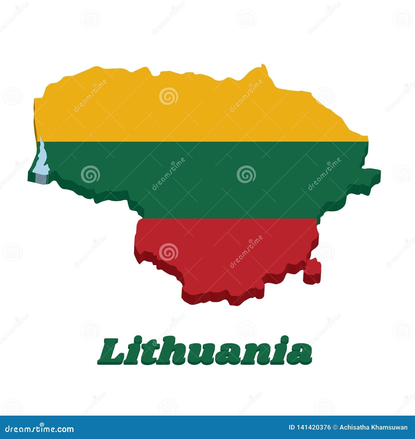 план карты 3D и флаг Литвы, горизонтальное triband желтые зеленого и красный