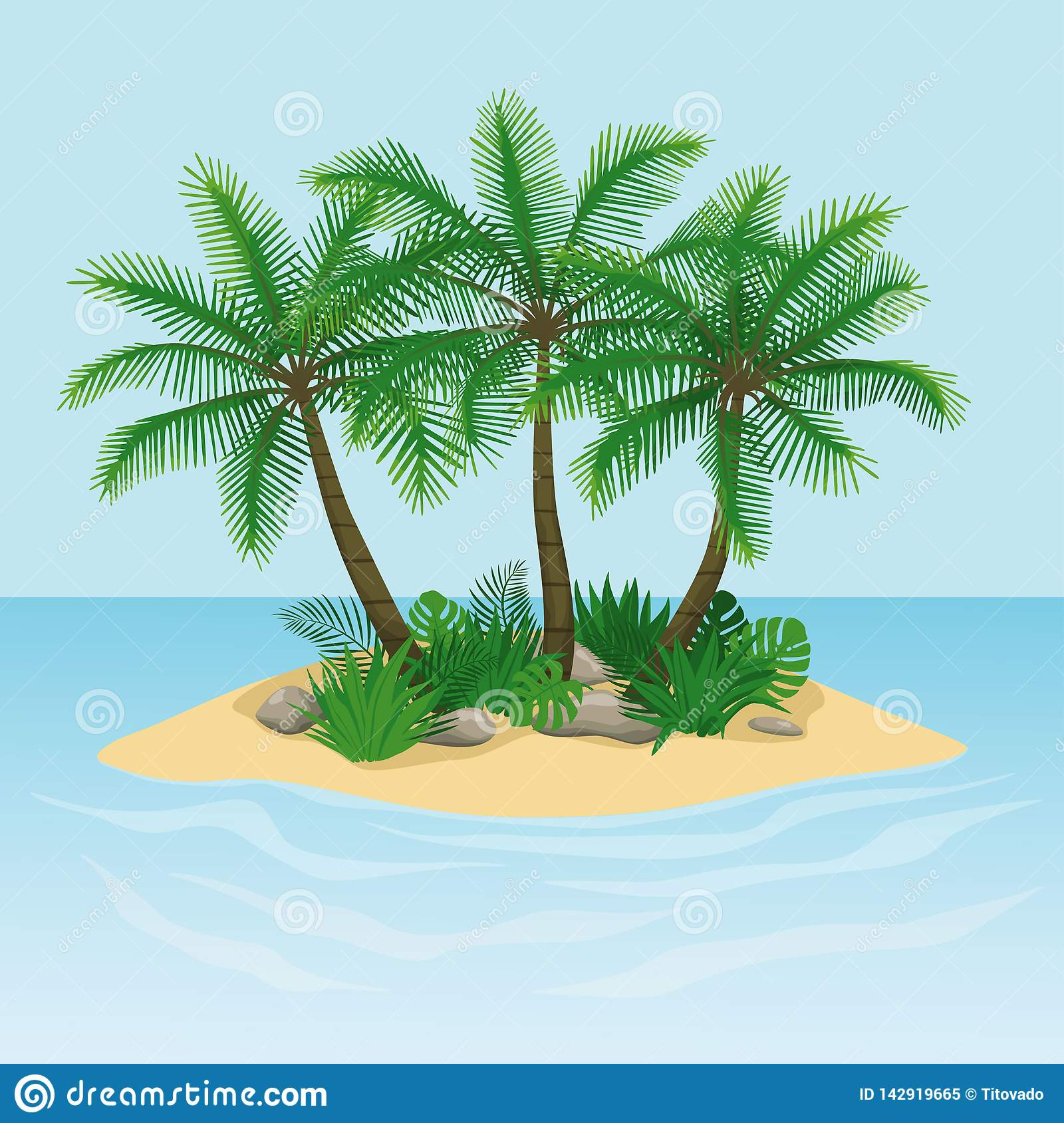 Island with palm trees, rocks and stones