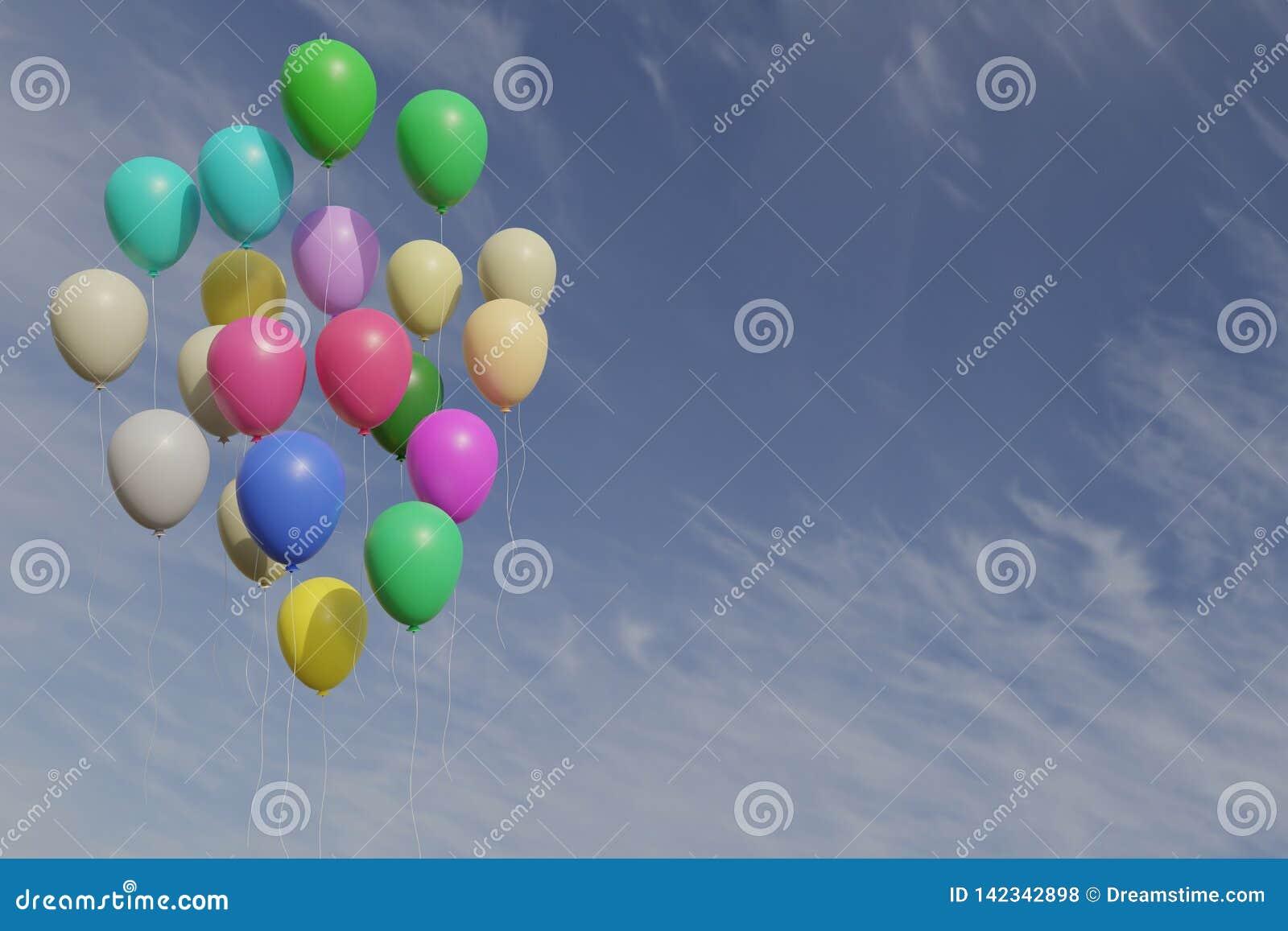 Пук воздушных шаров colorfull с переводом голубого неба 3d