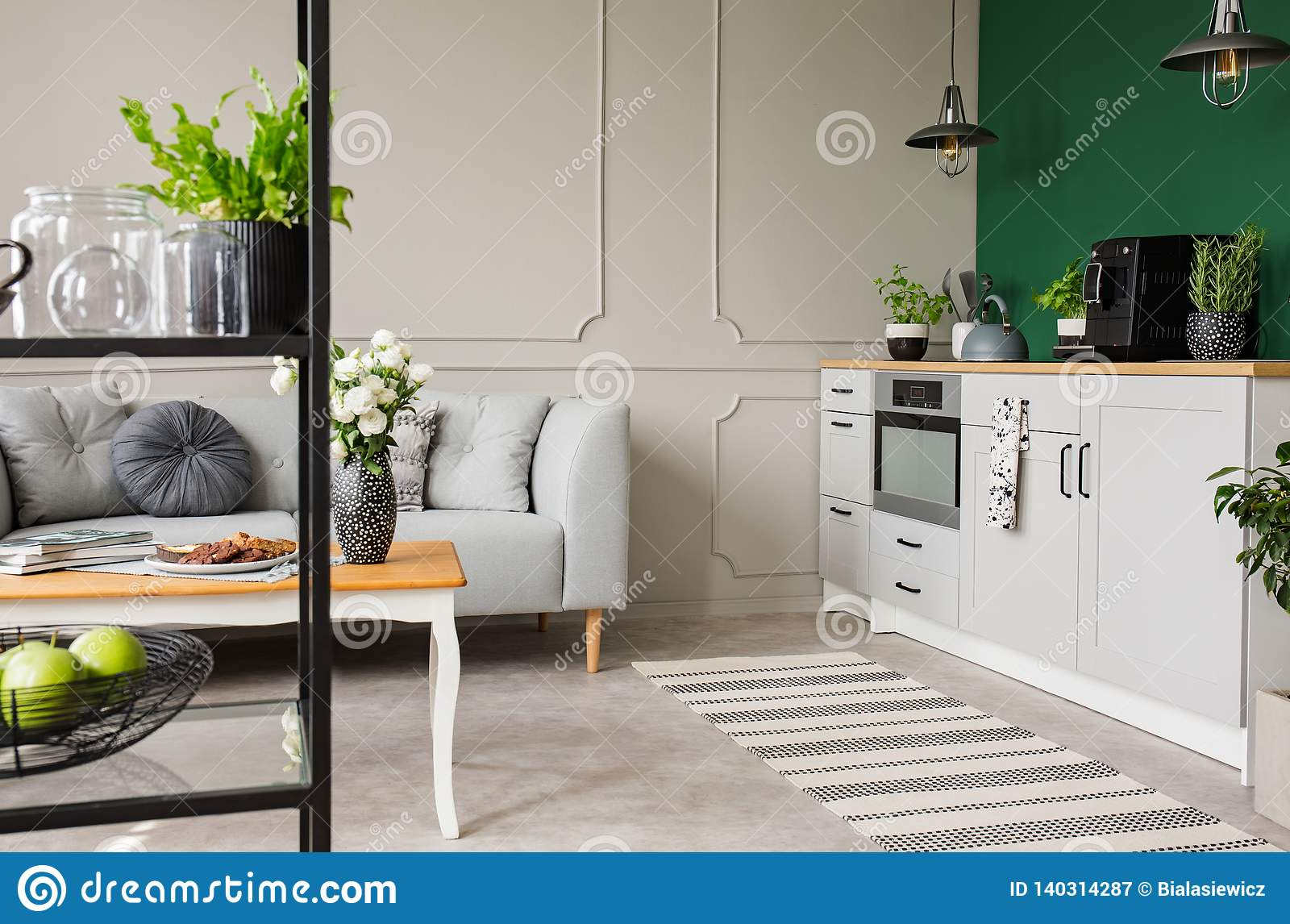 Пустая зеленая стена с космосом экземпляра в элегантной кухне с белыми мебелью, заводами и машиной кофе в стильной небольшой квар
