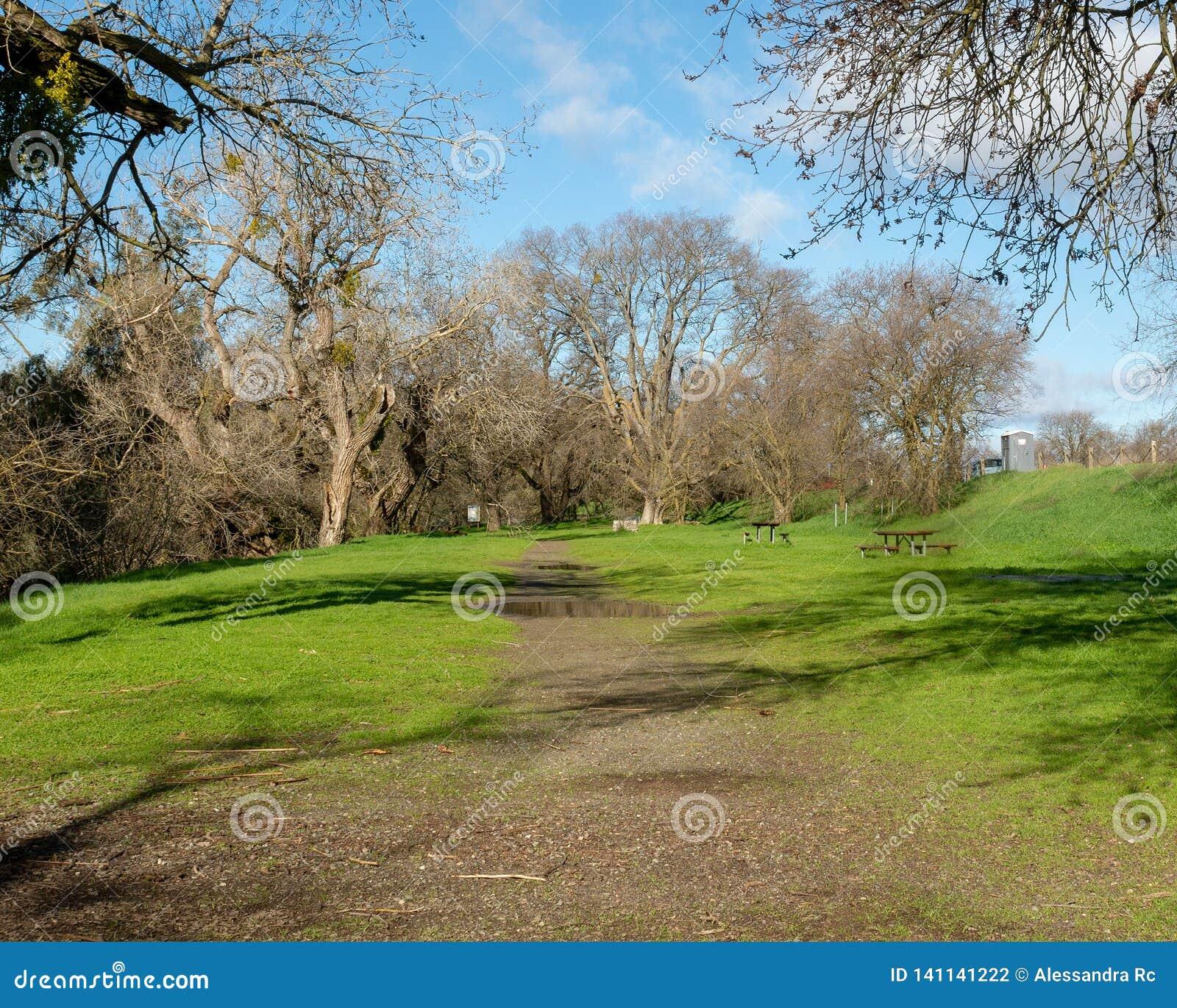 Путь на riparian заповеднике в Davis