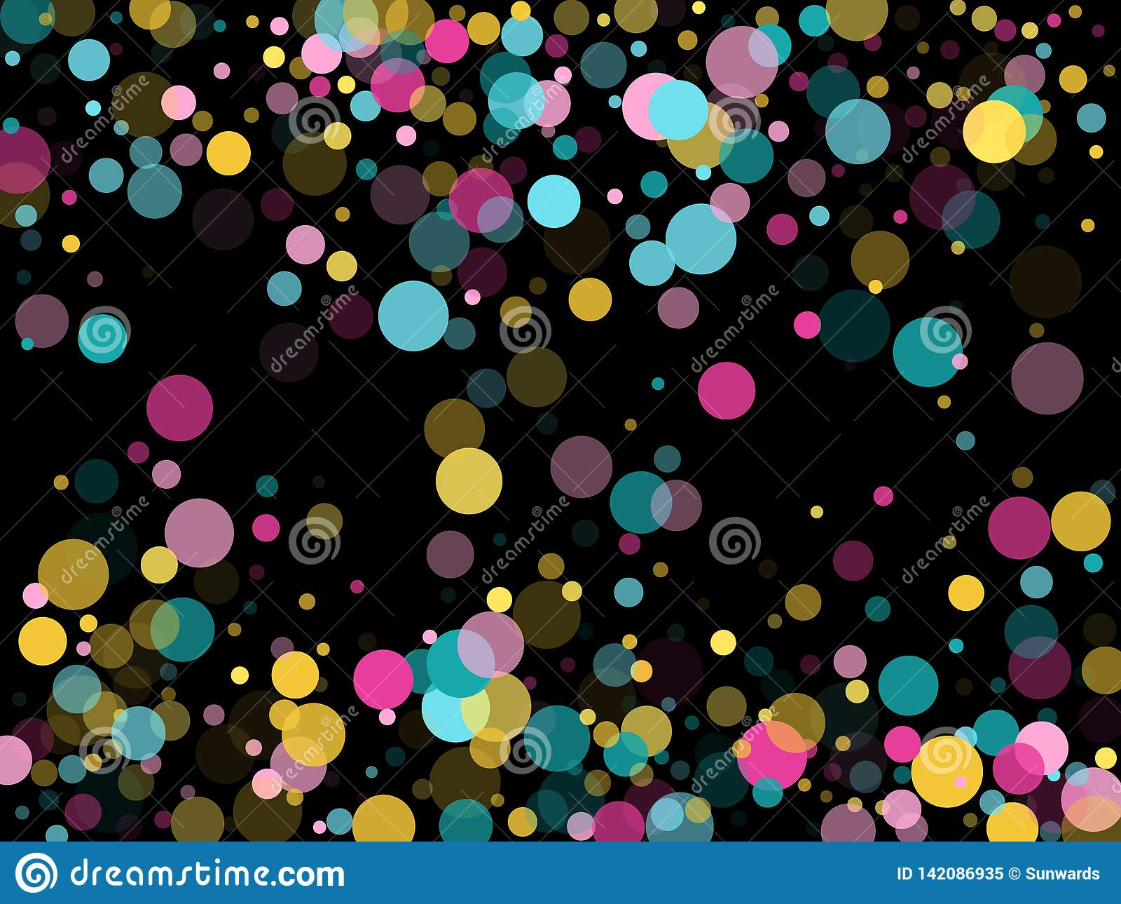 Предпосылка круглого confetti Мемфиса праздничная в cyan голубом, розовый и желтый Ребяческий вектор картины
