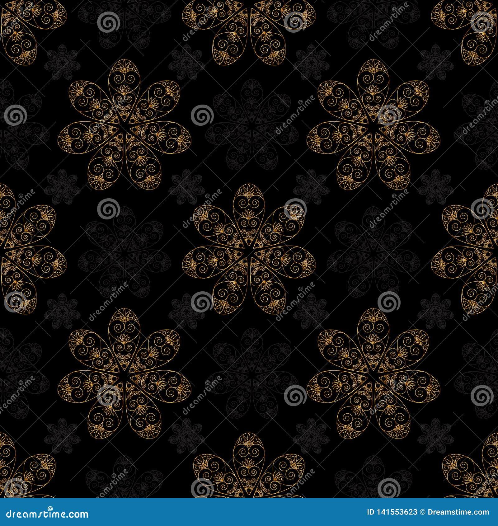Предпосылка черноты картины золотой мандалы безшовная