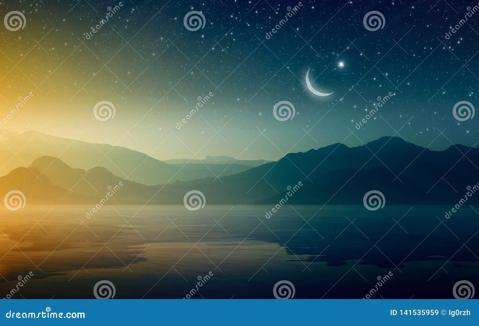 Предпосылка Рамазан Kareem с полумесяцем и звездами