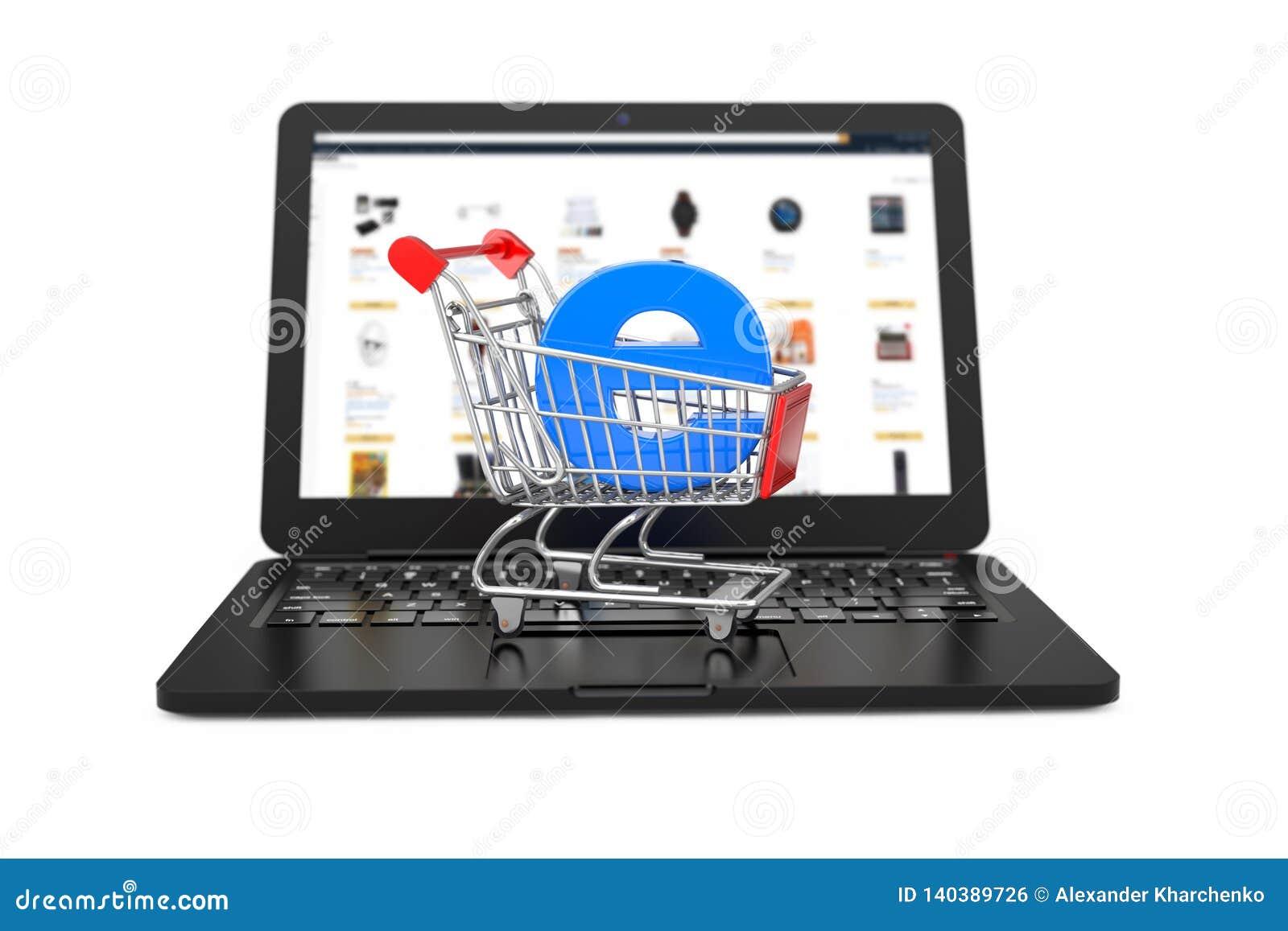 прочешите клавиатура рук кредита e принципиальной схемы компьютера коммерции Вагонетка корзины с голубым письмом e как электронна