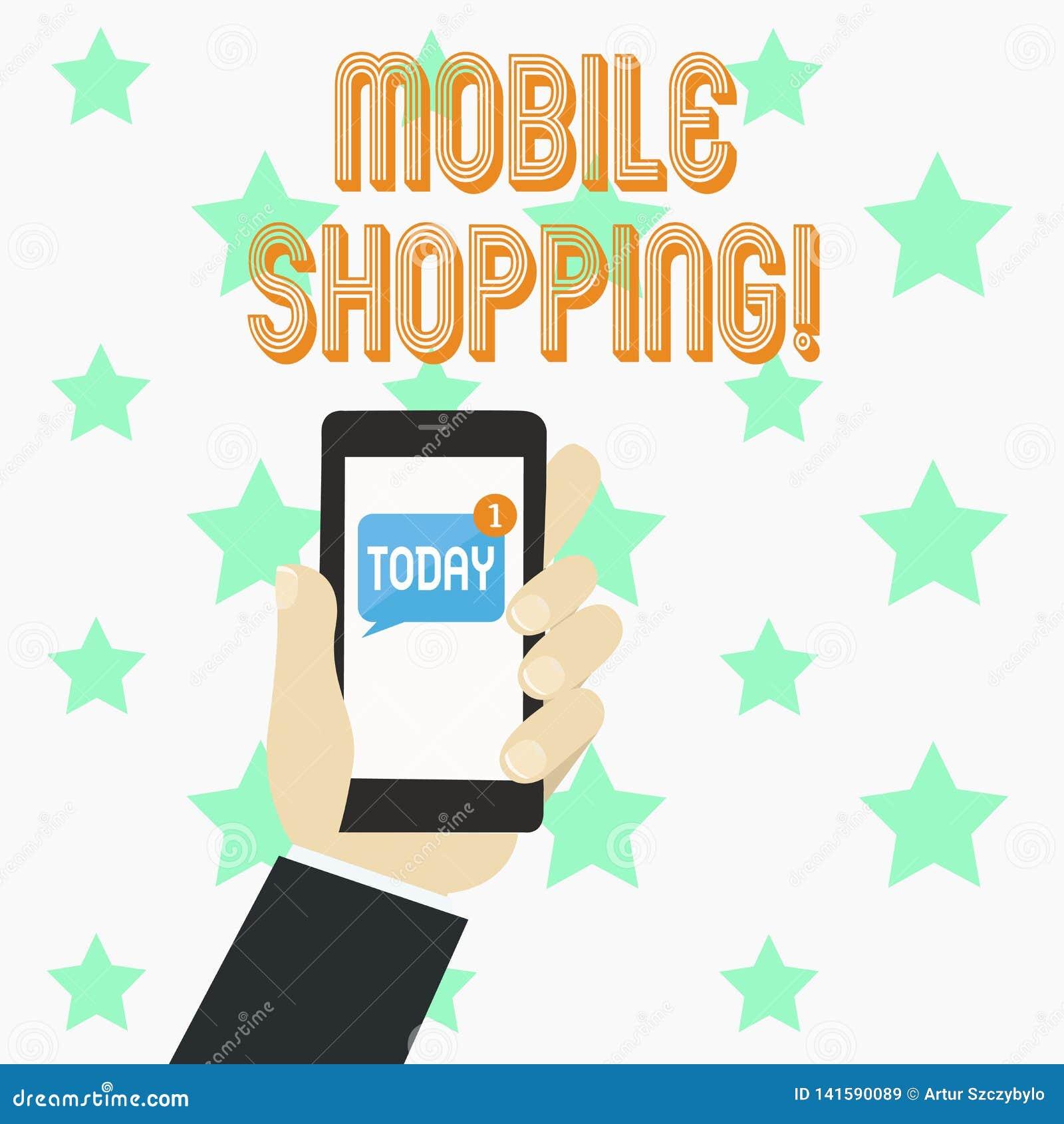 Покупки текста сочинительства слова передвижные Концепция дела для покупая продуктов онлайн технологическое приобретение беспрово