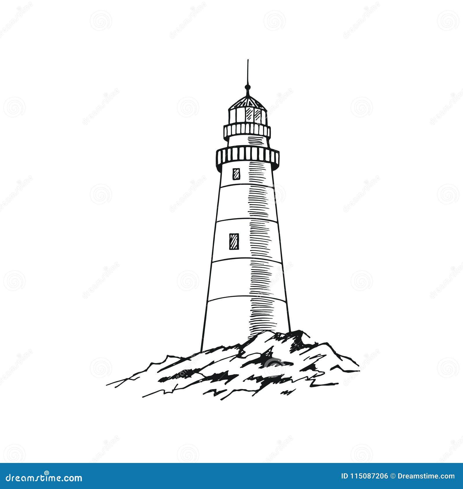ПÐ?Ñ-‡ Ð°Ñ 'ÑŒThe-Leuchtturmskizze Hand gezeichnete vektorabbildung