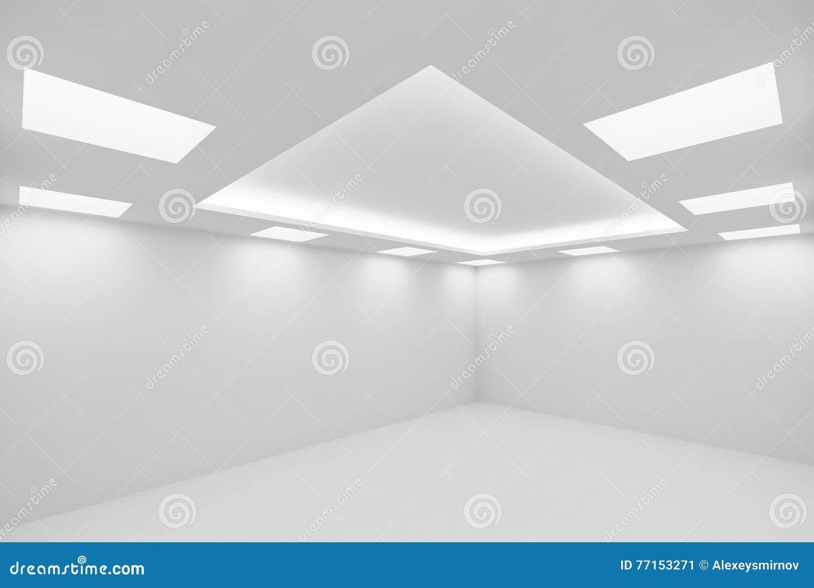 Ð•pièce blanche mpty avec la vue large carrée de plafonniers du corne