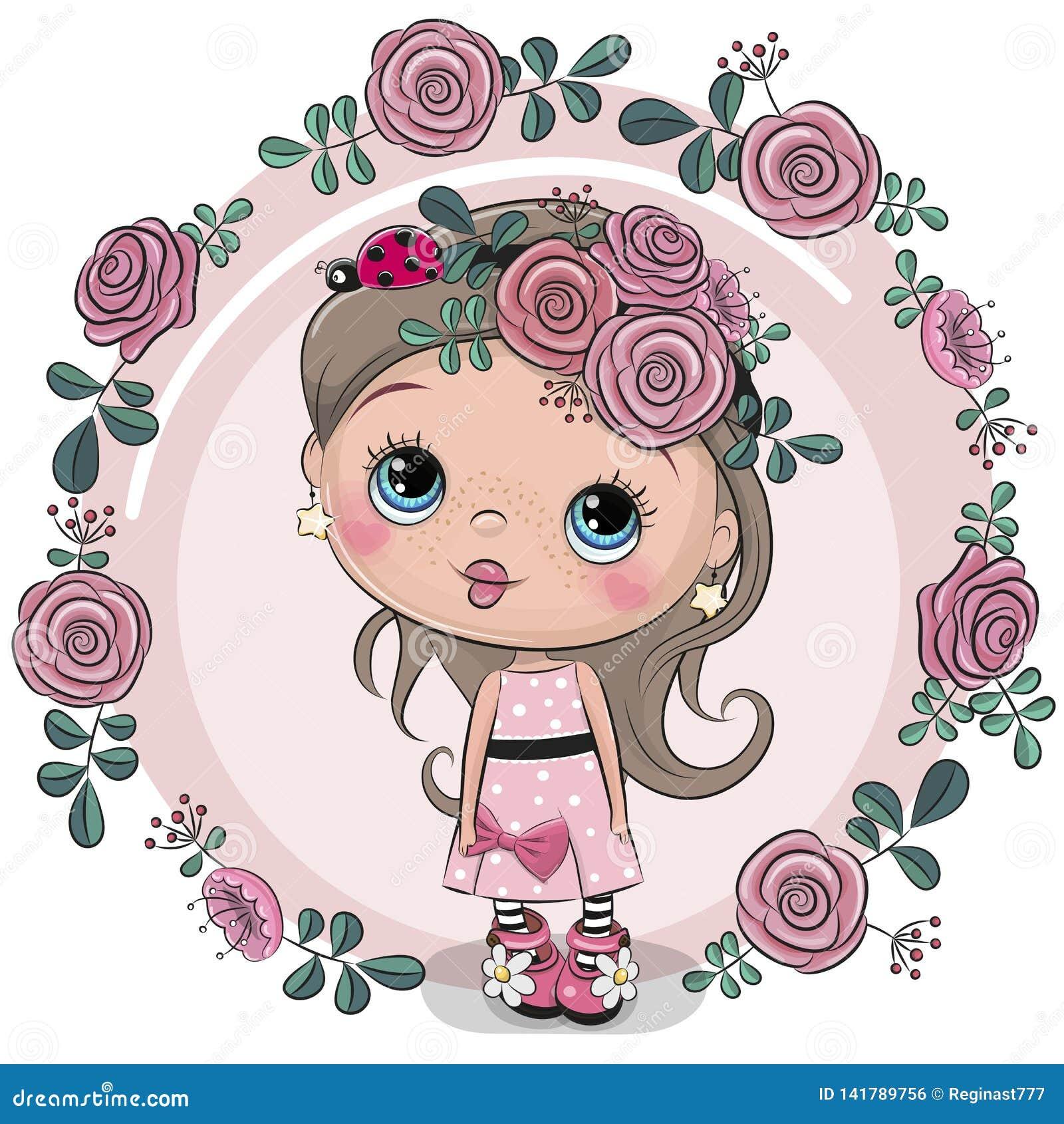 Девушка поздравительной открытки с цветками на розовой предпосылке