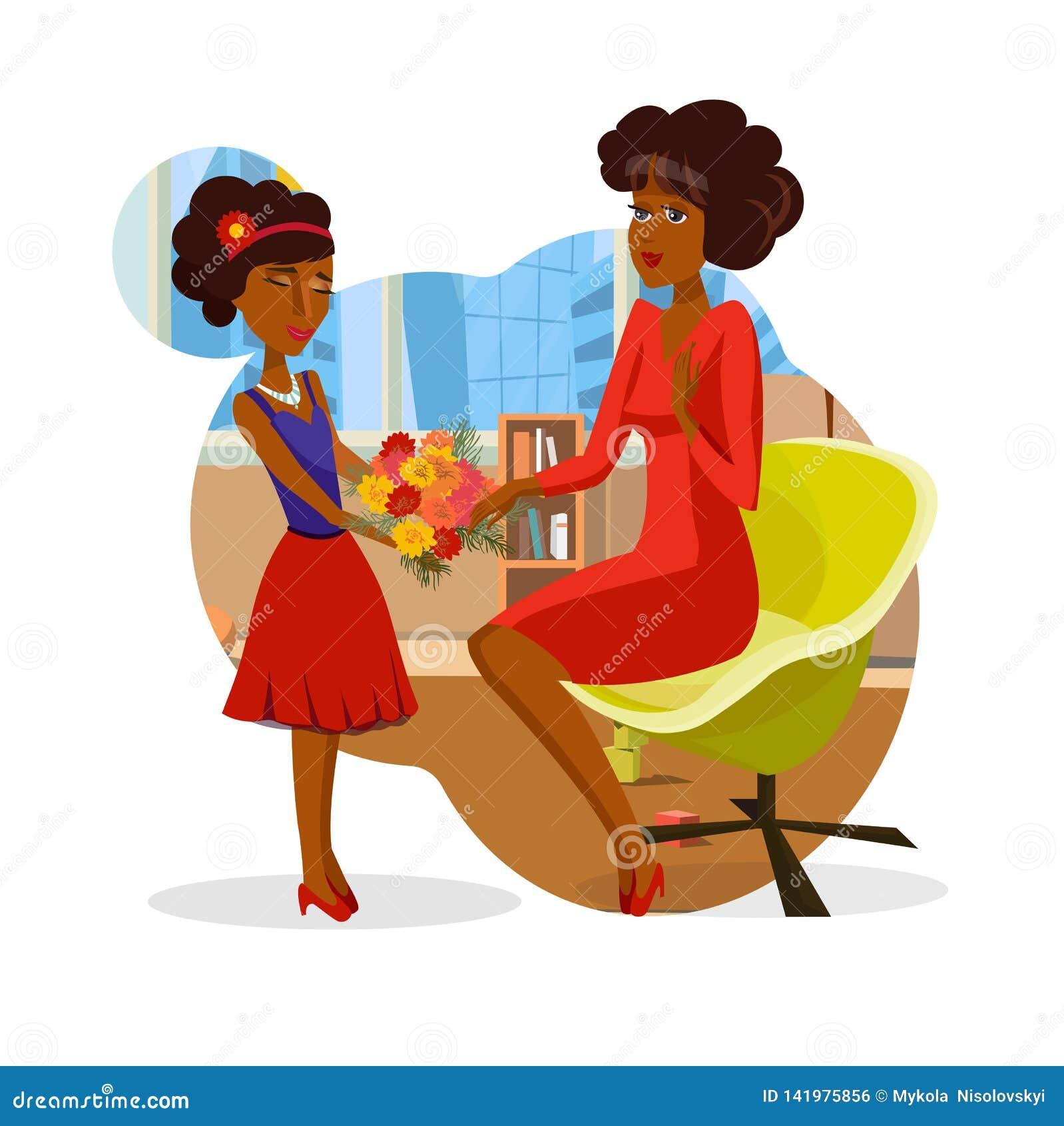 Девушка давая пук мамы вектора Clipart цветков