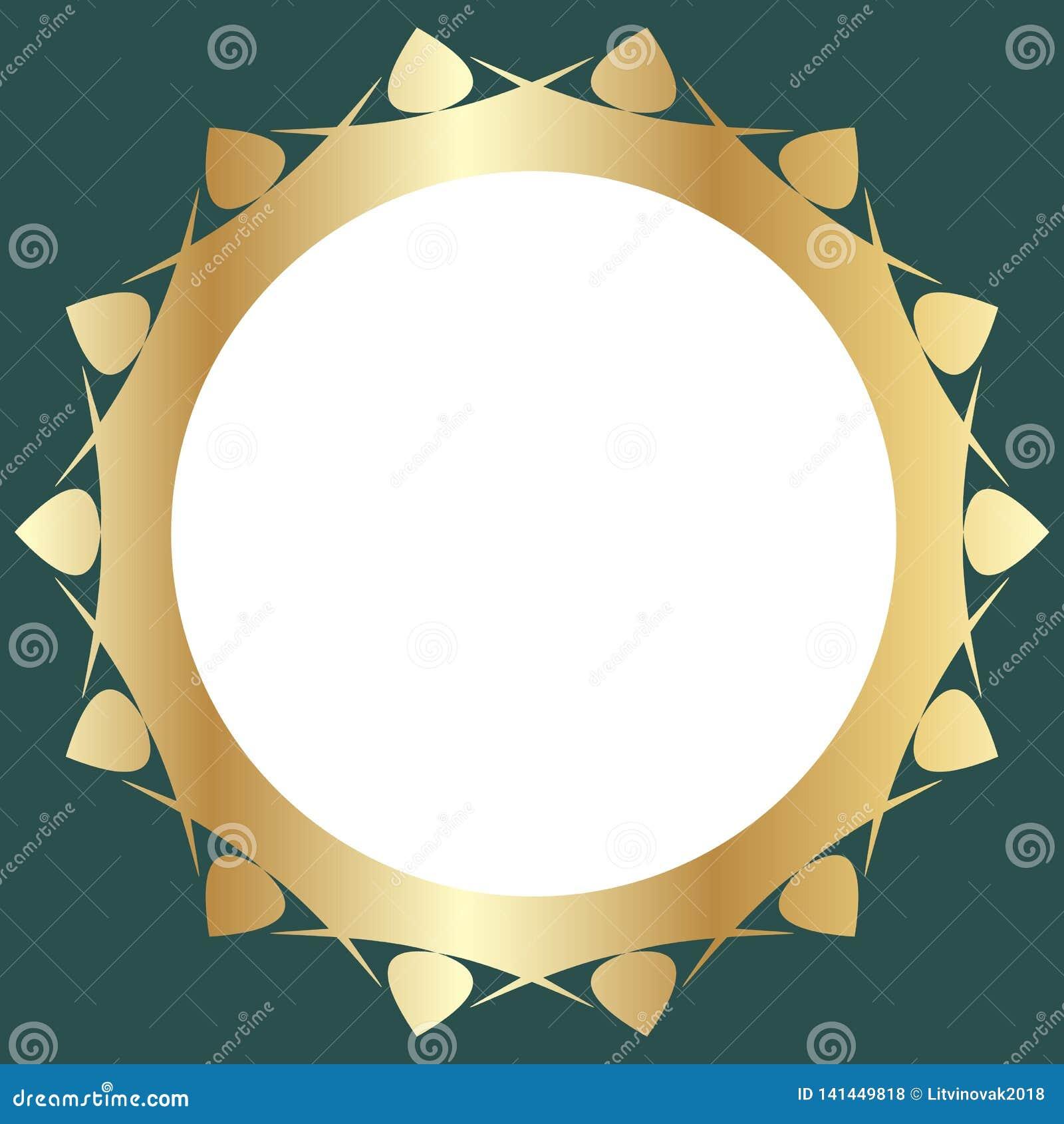 Декоративная золотая рамка с абстрактным флористическим дизайном на зеленой предпосылке Круглый состав картины