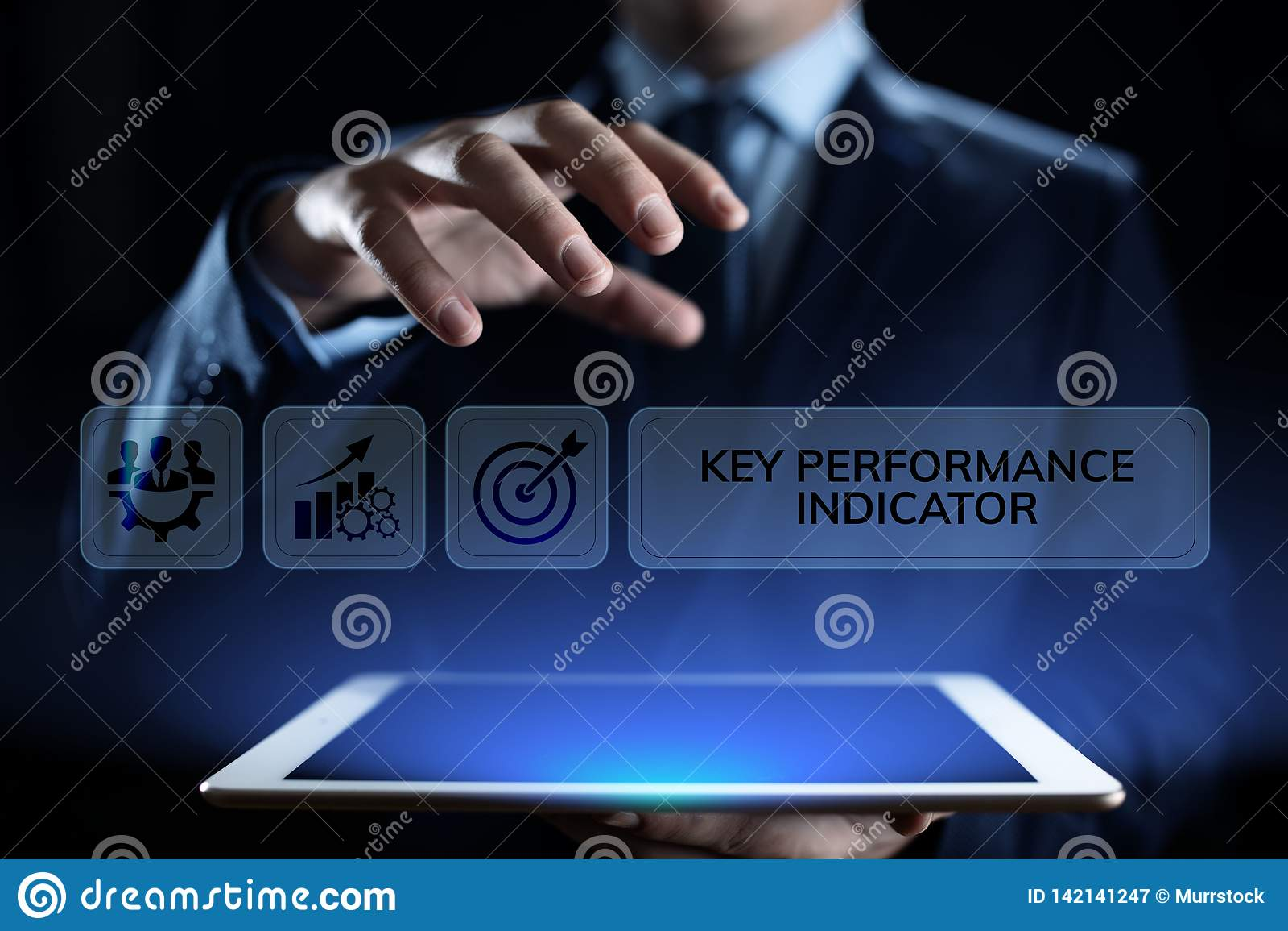 Дело индикатора ключевой производительности KPI и концепция анализа отраслевой структуры на экране
