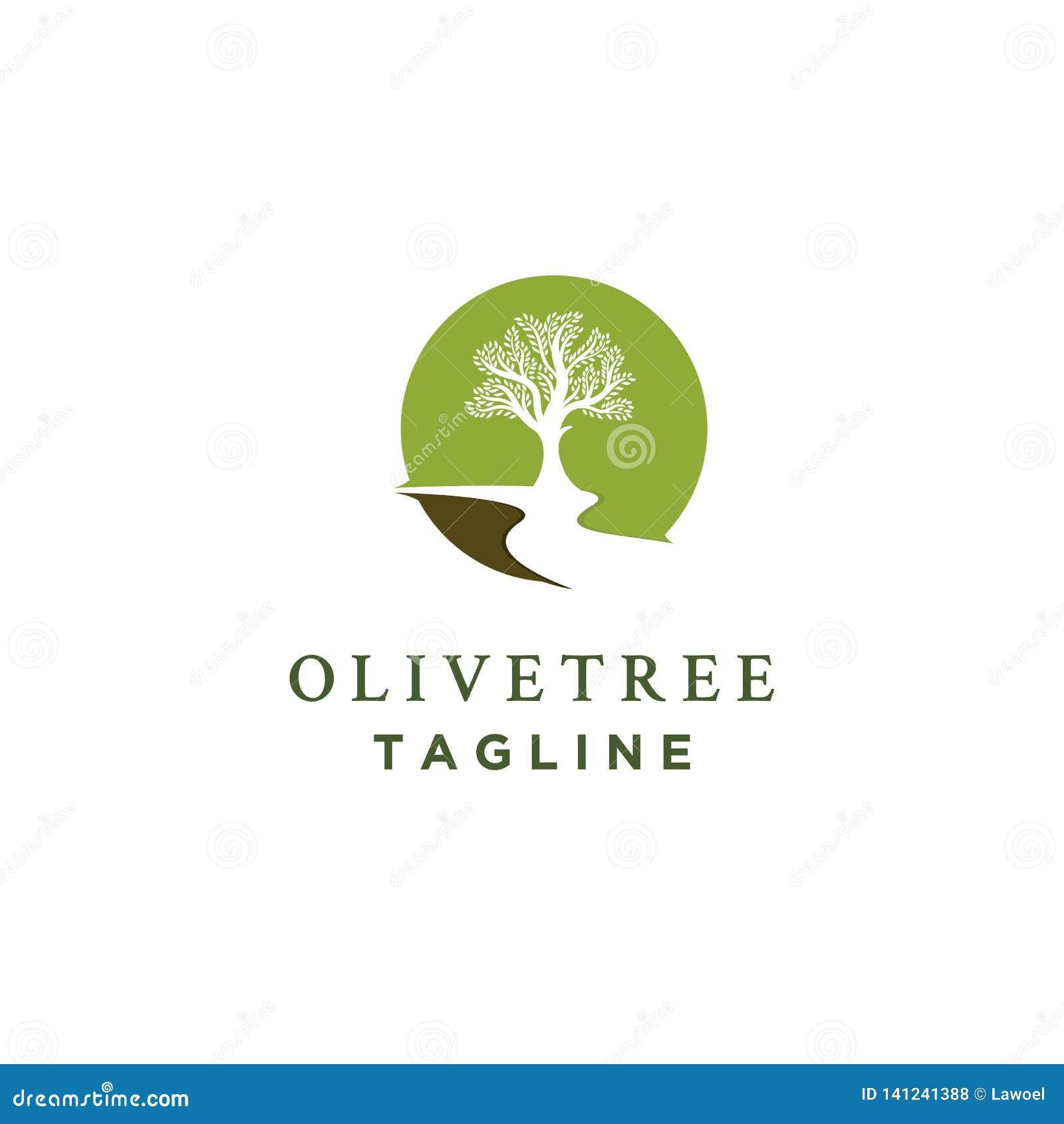 Дизайны логотипа оливкового дерева с реками